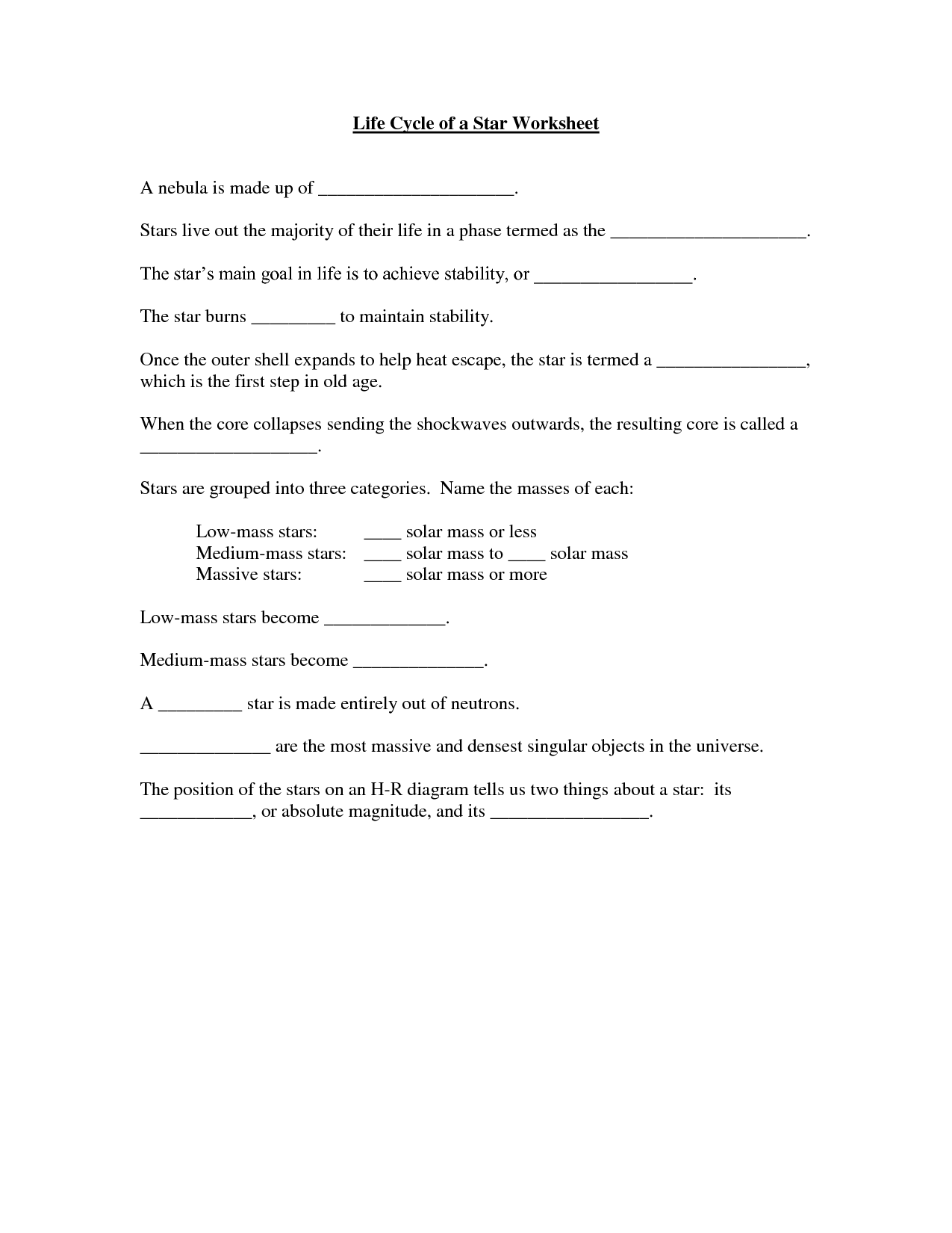 15 Best Images Of Star Formation Worksheet
