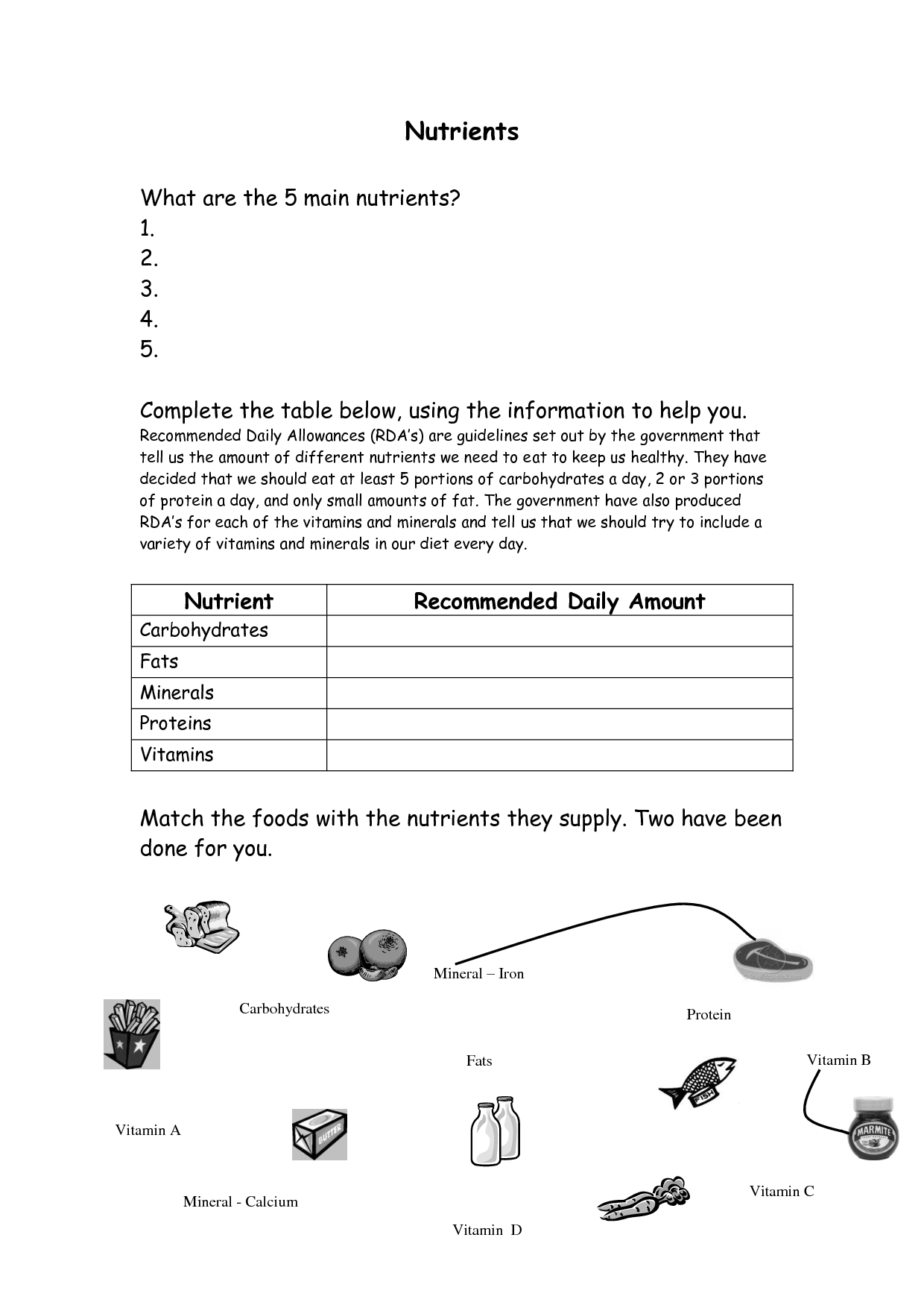 Vitamins And Minerals Worksheet