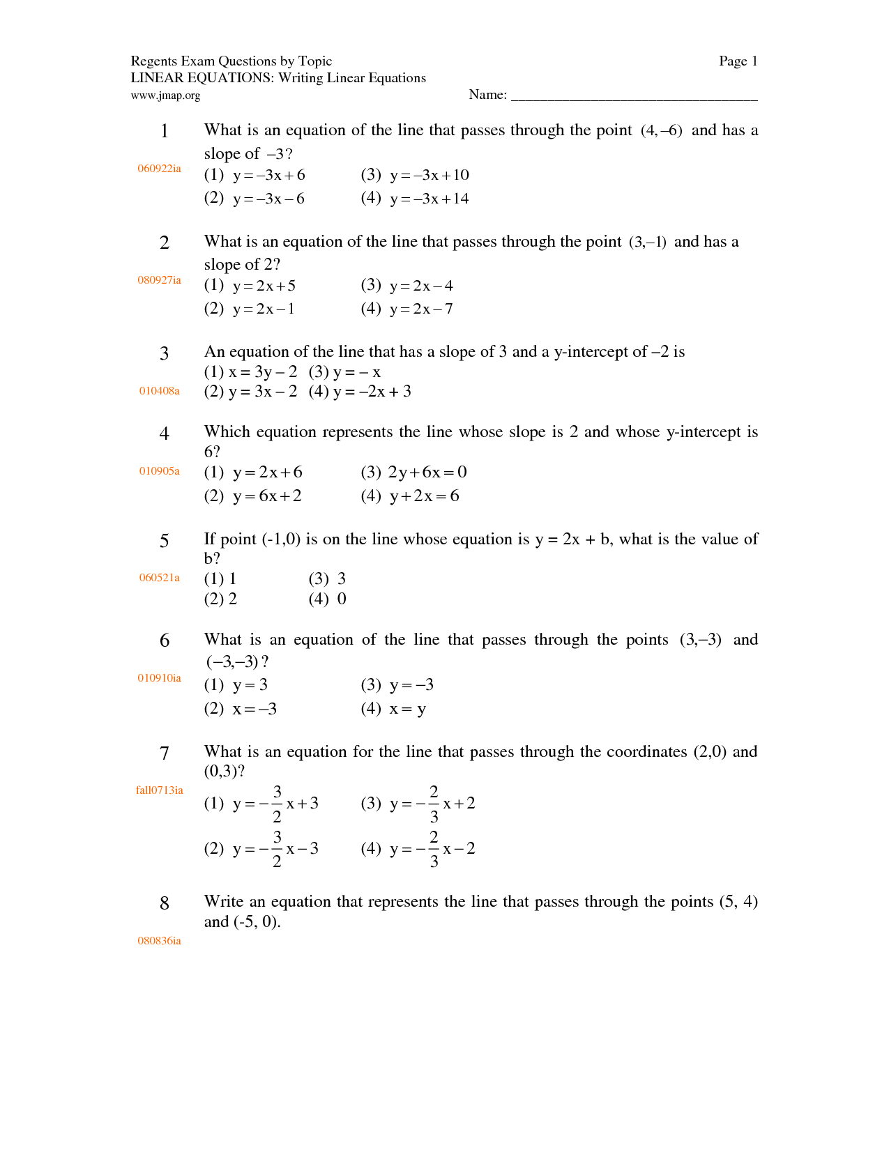 Worksheet Level 2 Writing Linear Equations