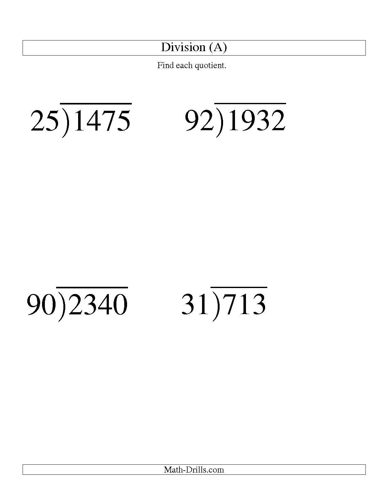 13 Best Images Of Long Division Worksheets 6th Grade