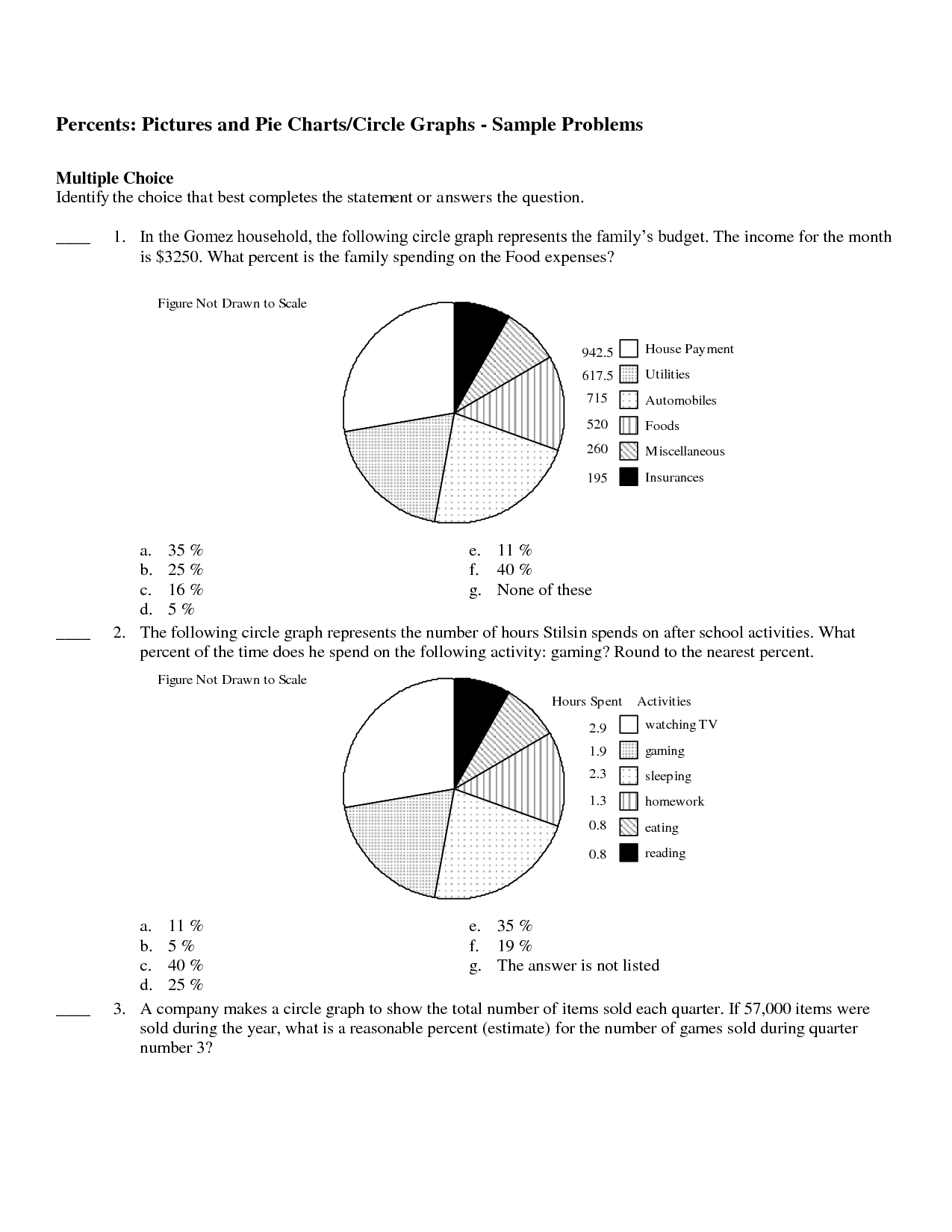 14 Best Images Of Circle Graph Worksheets 5th Grade