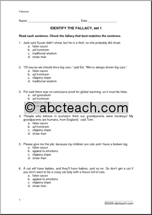 10 Best Images Of Logical Fallacies Worksheet