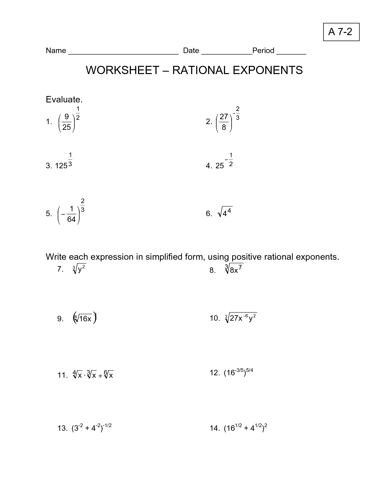 17 Best Images Of Laws Of Exponents Algebra Worksheets