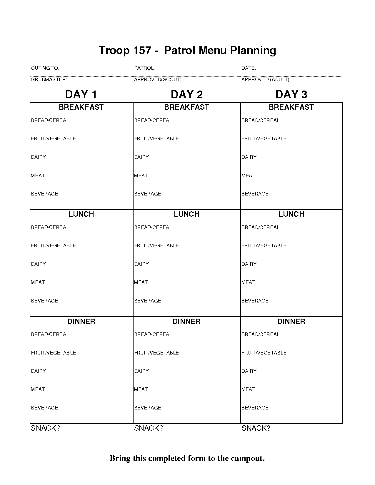 13 Best Images Of Boy Scout Day 5 Meal Planning Worksheet