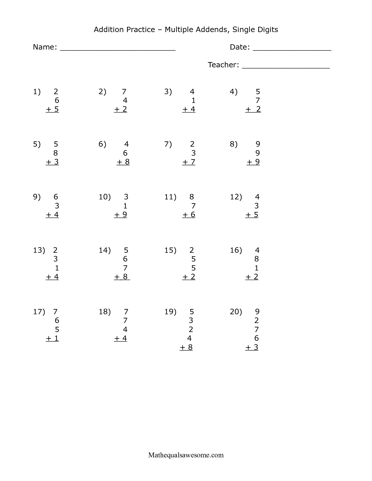 Addition Worksheet Single Digit Math Facts