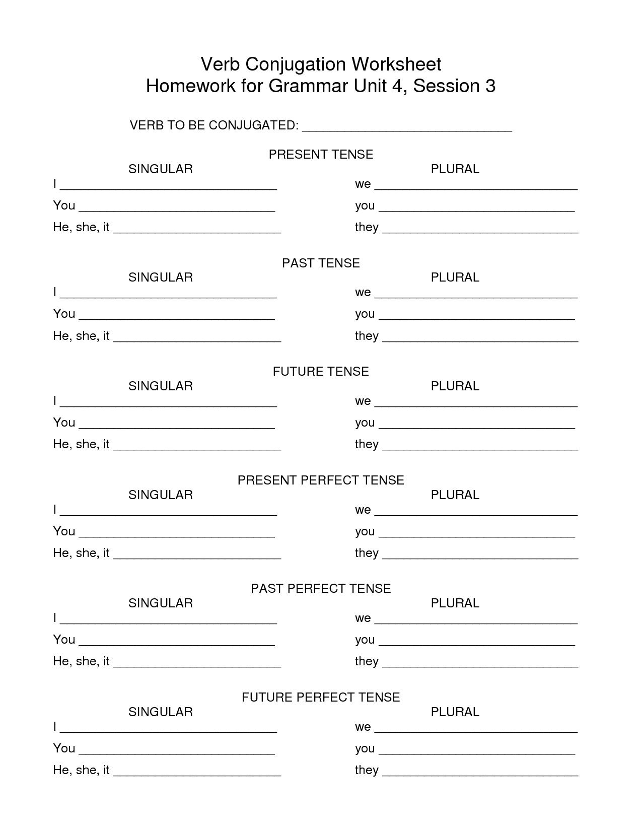 19 Best Images Of Conjugation Worksheets Printable