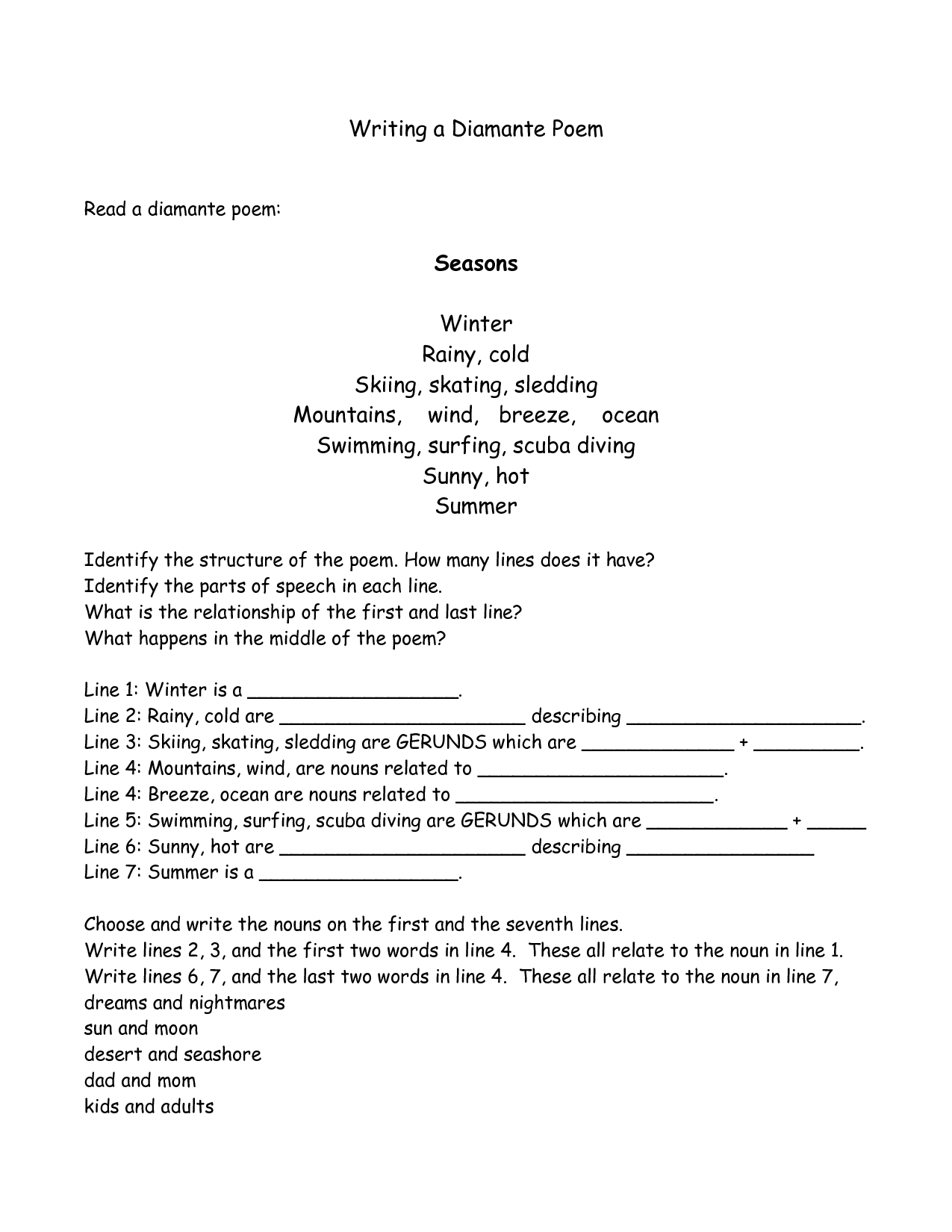 19 Best Images Of Diamante Poetry Worksheets