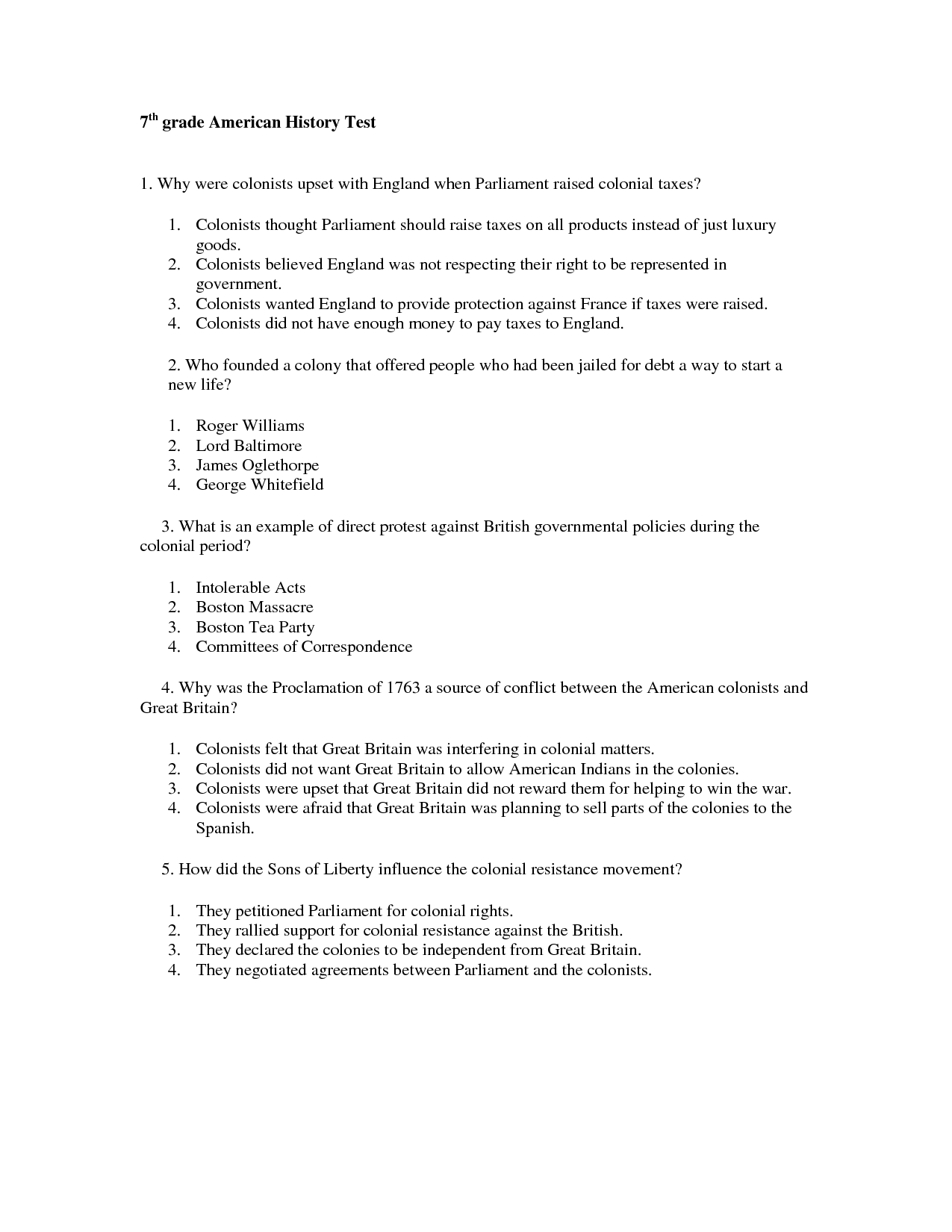 History Worksheets For Class 7