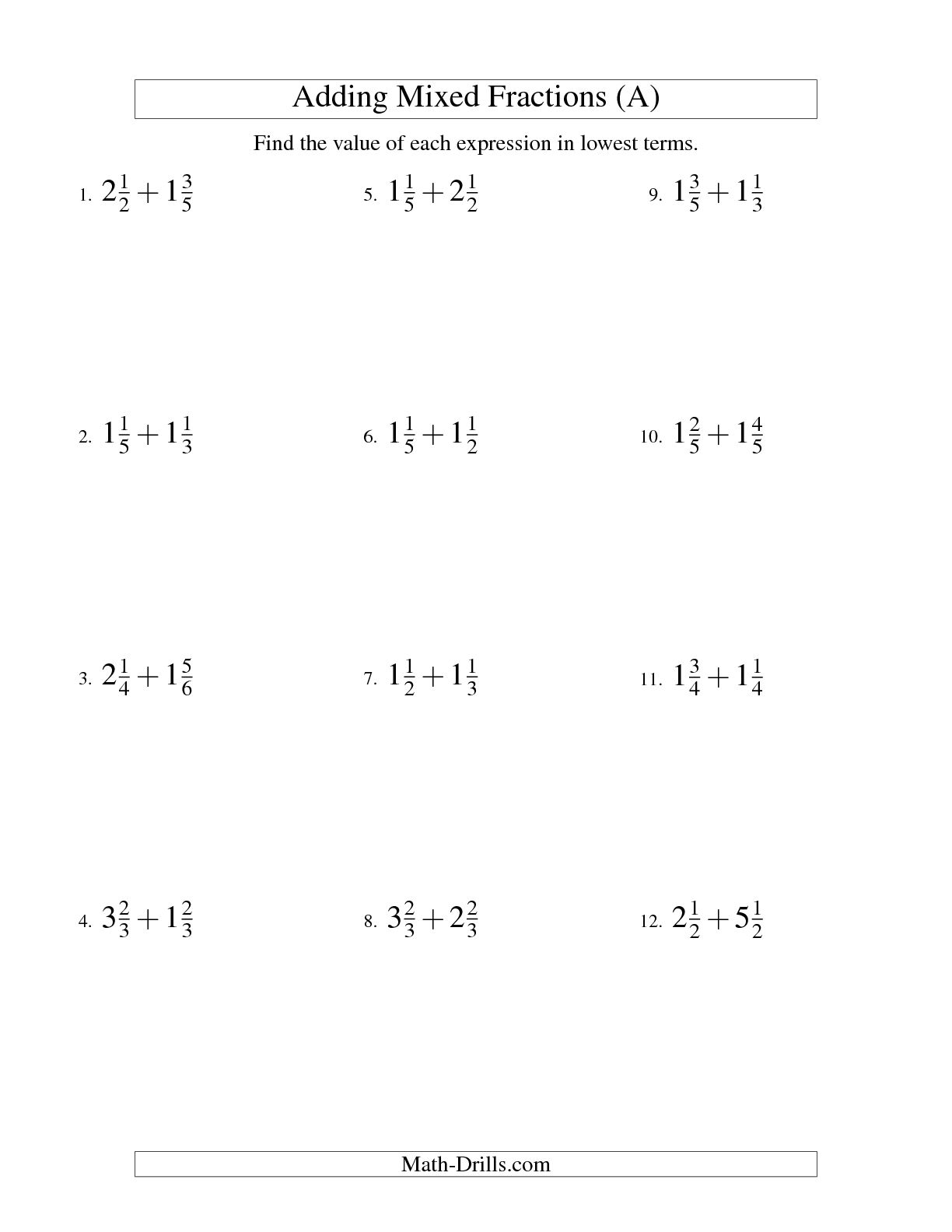 16 Best Images Of Add Fractions Worksheet