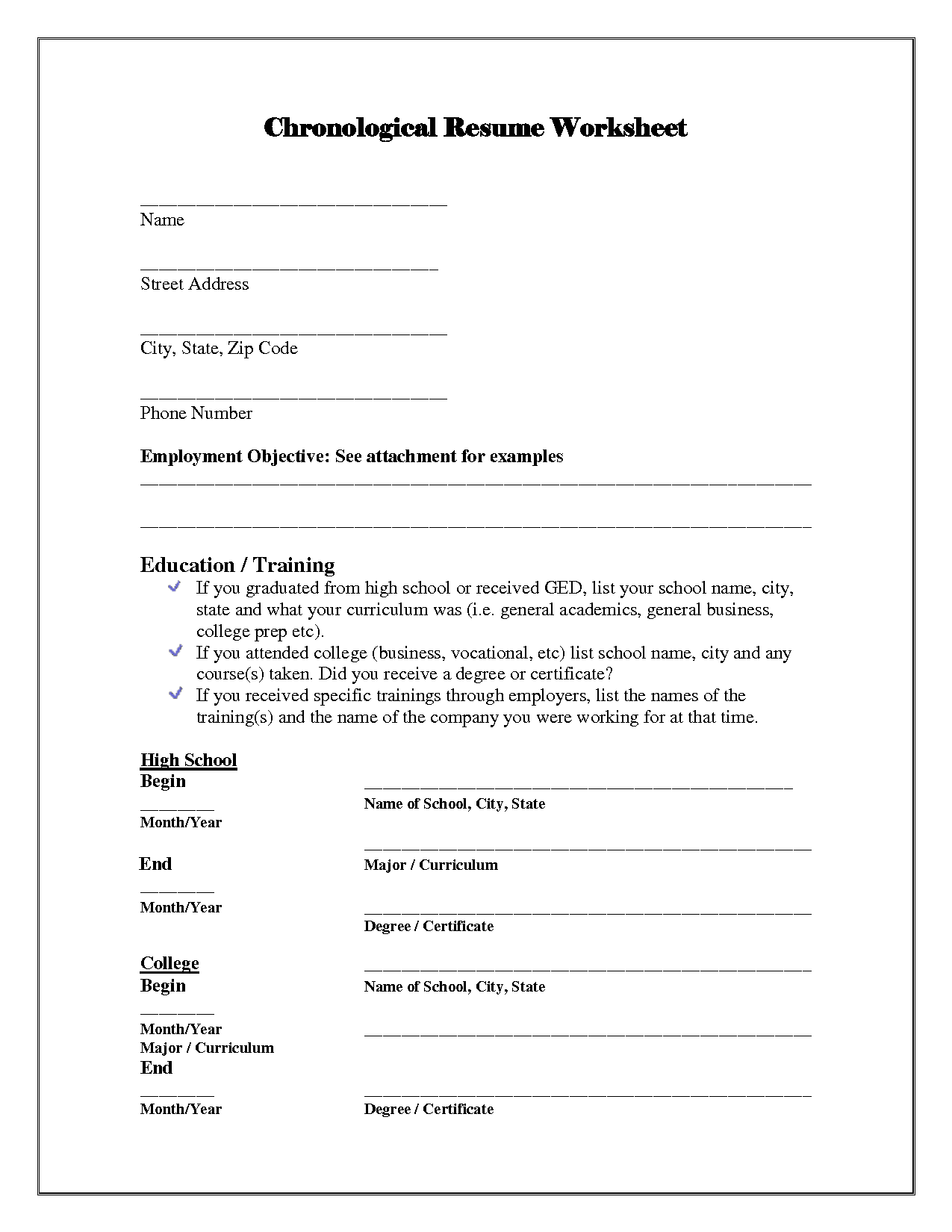 13 Best Images Of Simple Resume Worksheet