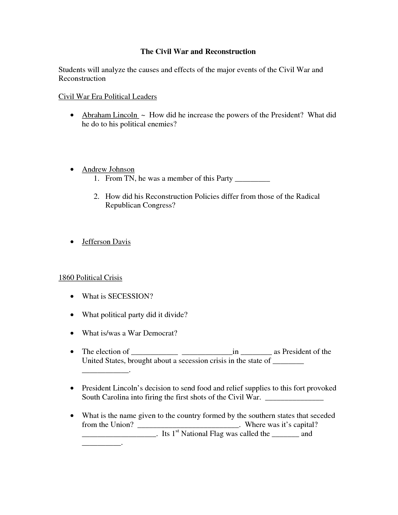 16 Best Images Of Reconstruction Worksheets Printable