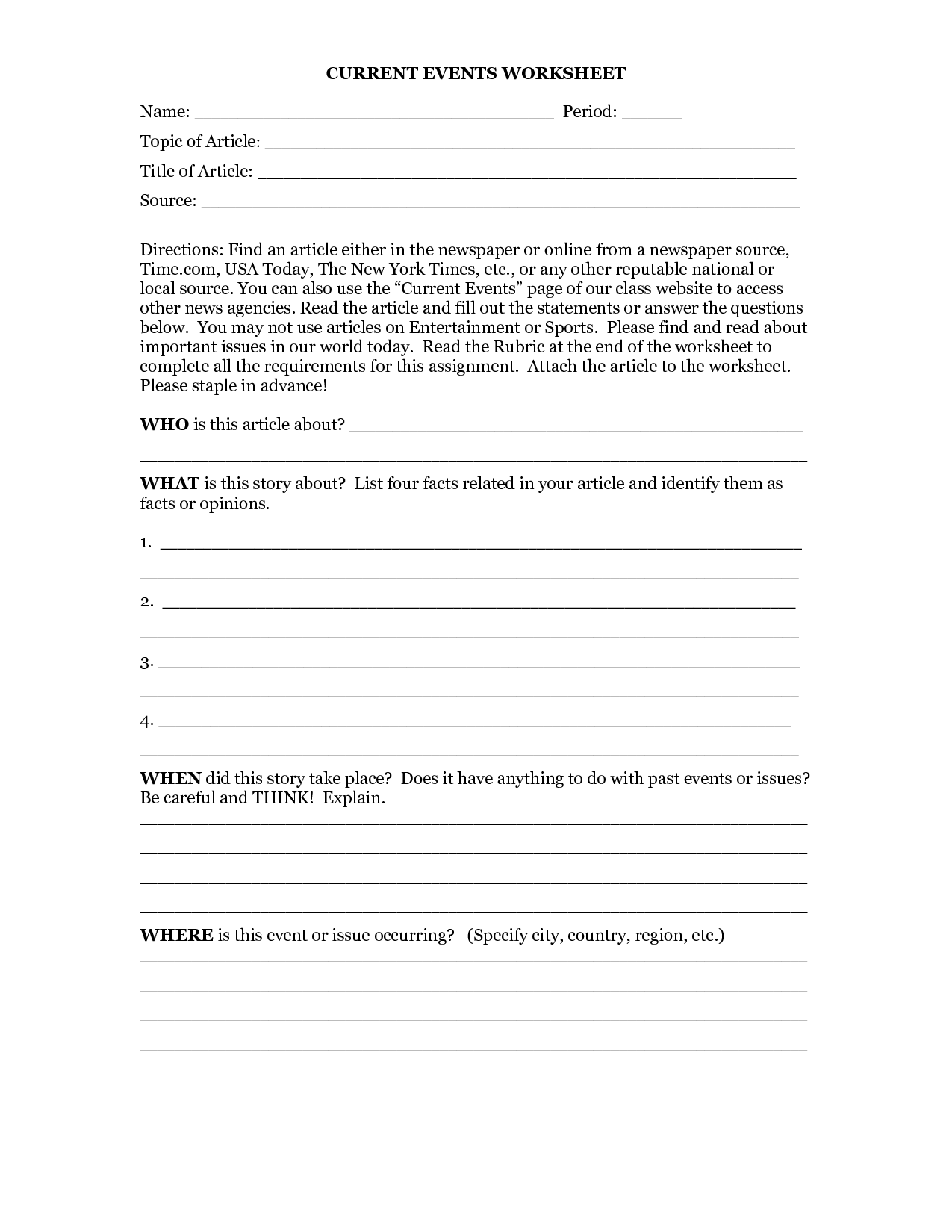 16 Best Images Of Science Current Events Worksheet