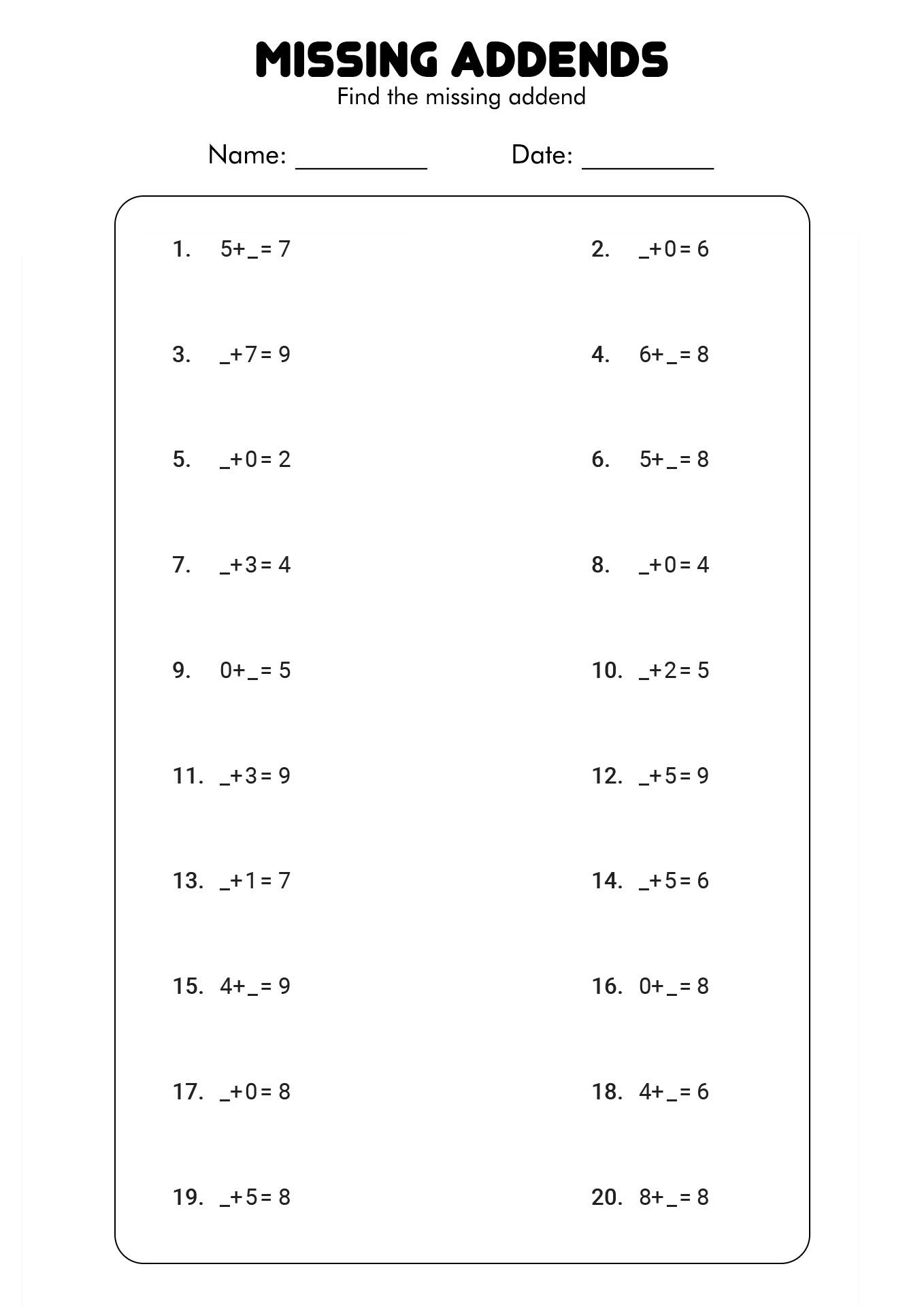 12 Best Images Of For First Grade Addition Worksheets