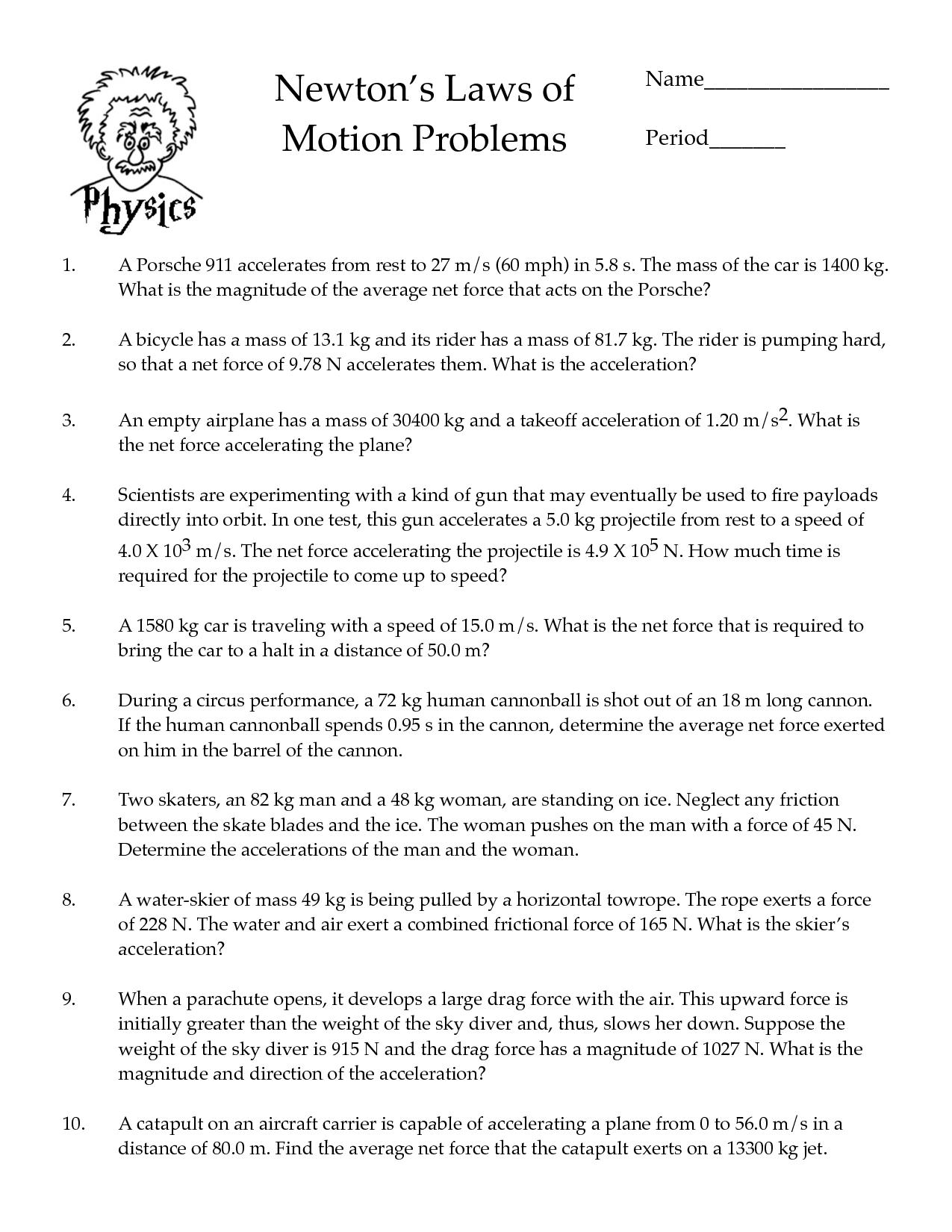 Newtons Law Worksheet