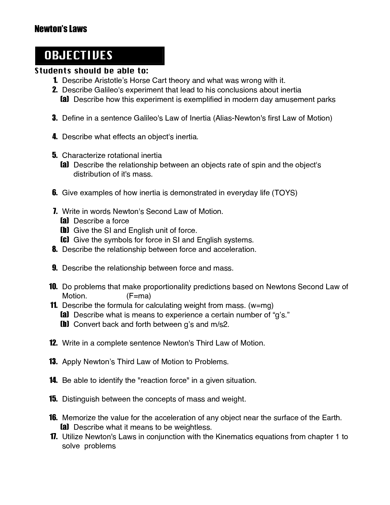 Newton S Second Law Worksheet With Answers