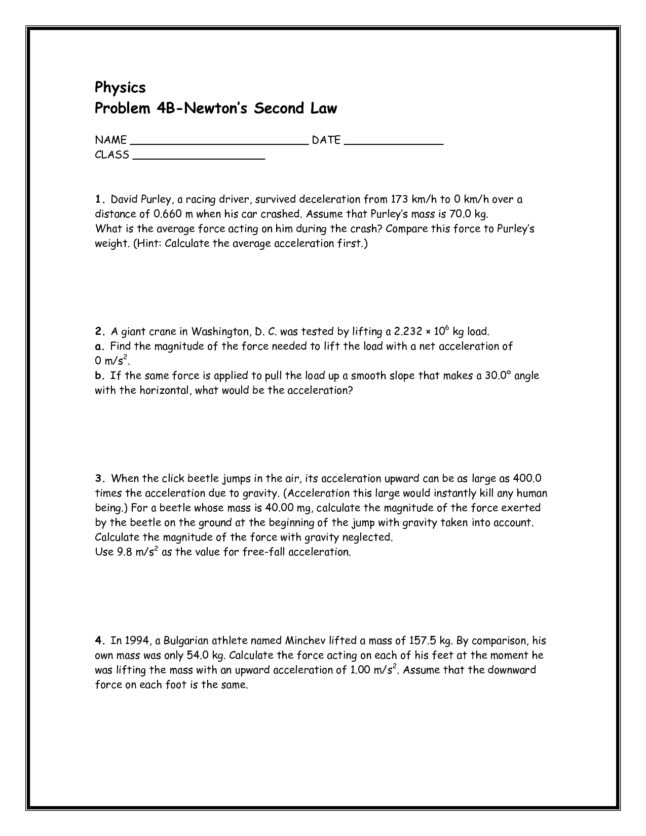 32 Newtons Second Law Of Motion Worksheet Answers
