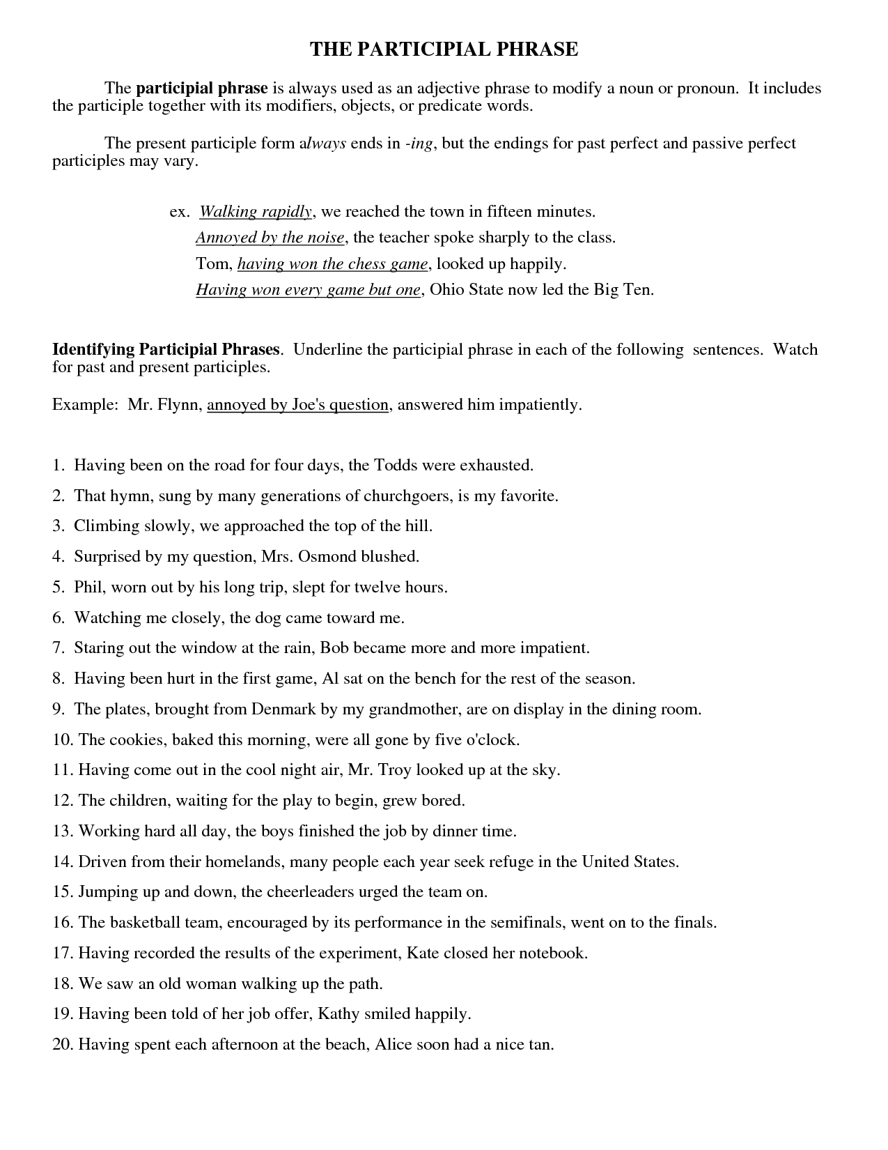 15 Best Images Of Participle Phrase Worksheets And Answers