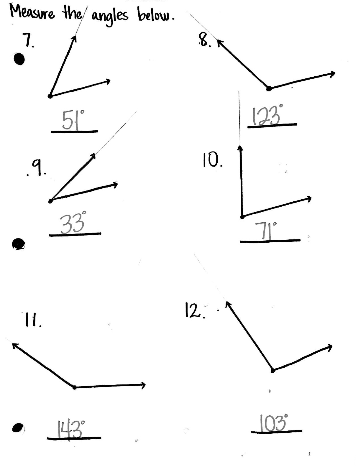 4 Grade Math Worksheet Angles