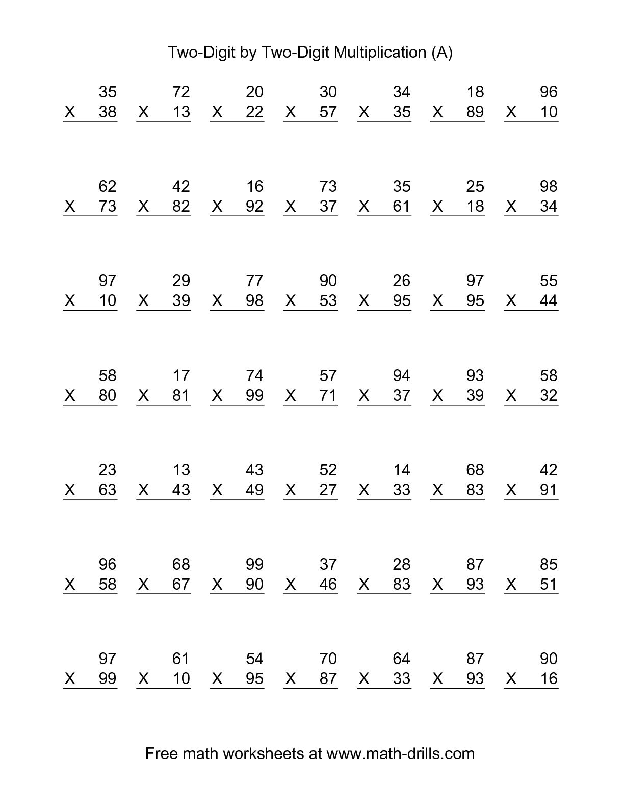 15 Best Images Of 1 And 2 Digit Multiplication Worksheets