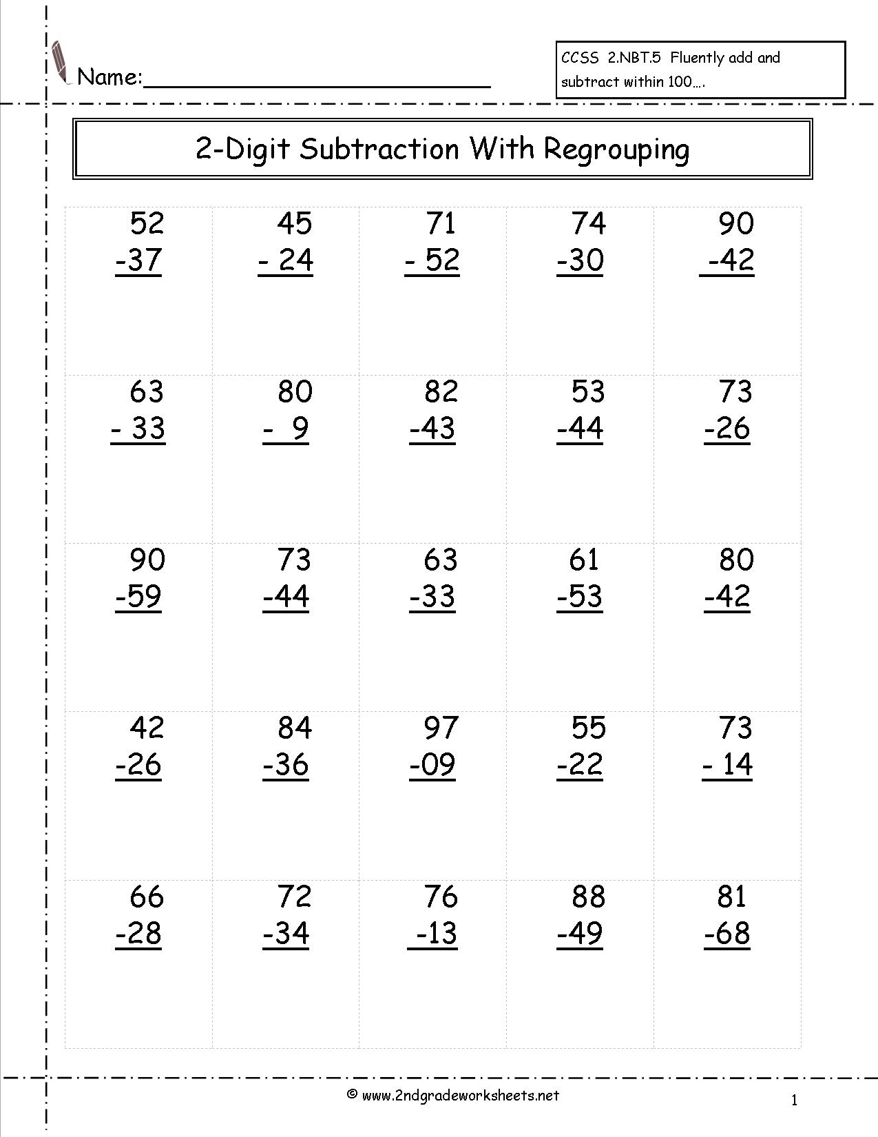 15 Best Images Of 2nd Grade Subtraction Worksheets 100 Problems