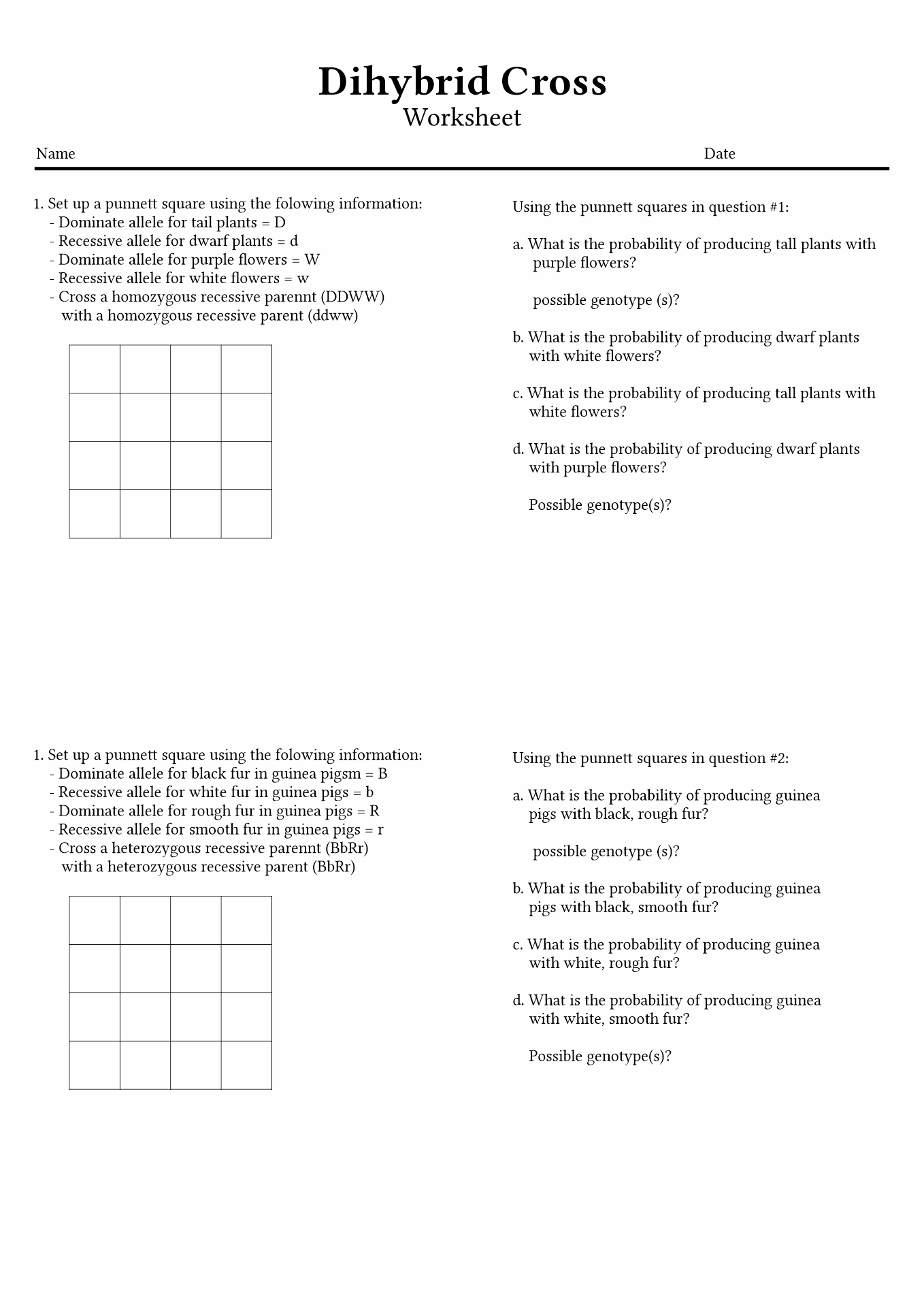 13 Best Images Of Punnett Square Worksheets With Answers