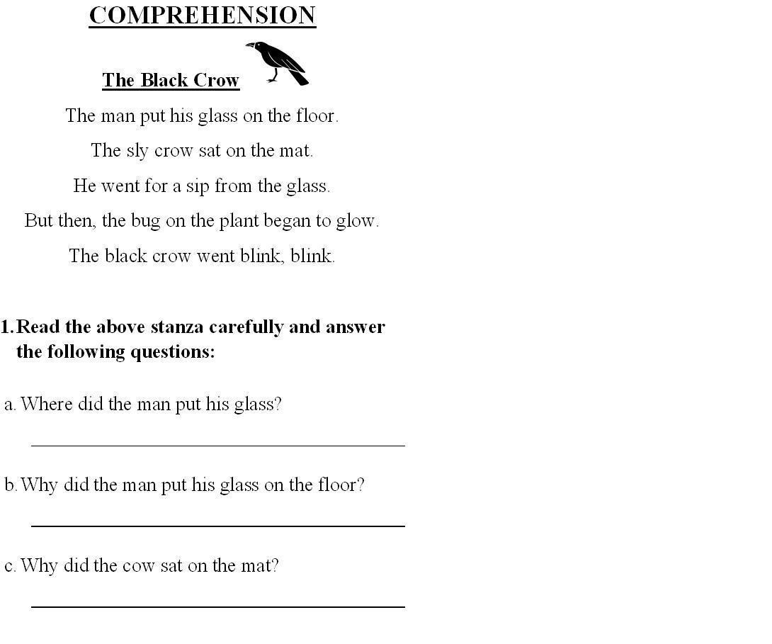 Worksheet English Class 1