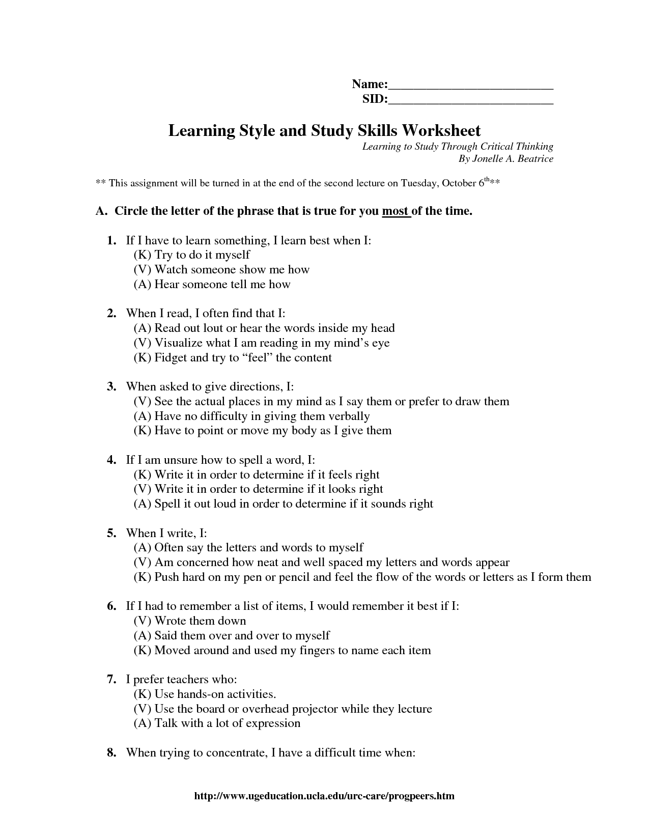 16 Best Images Of Learning Styles Exercise Worksheet
