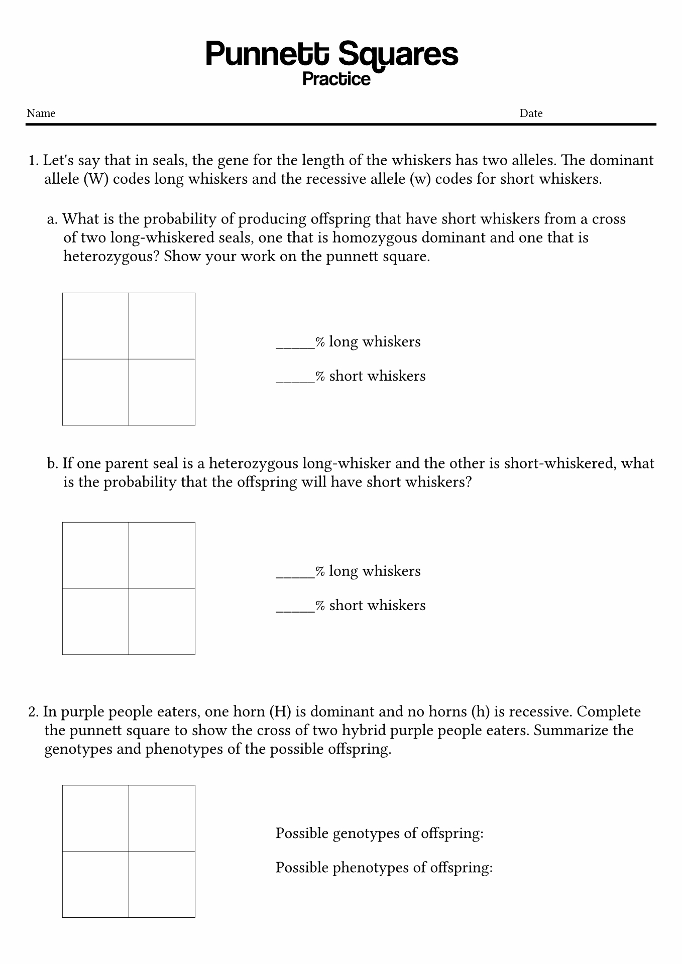 35 Punnett Square Worksheet 1 Answers