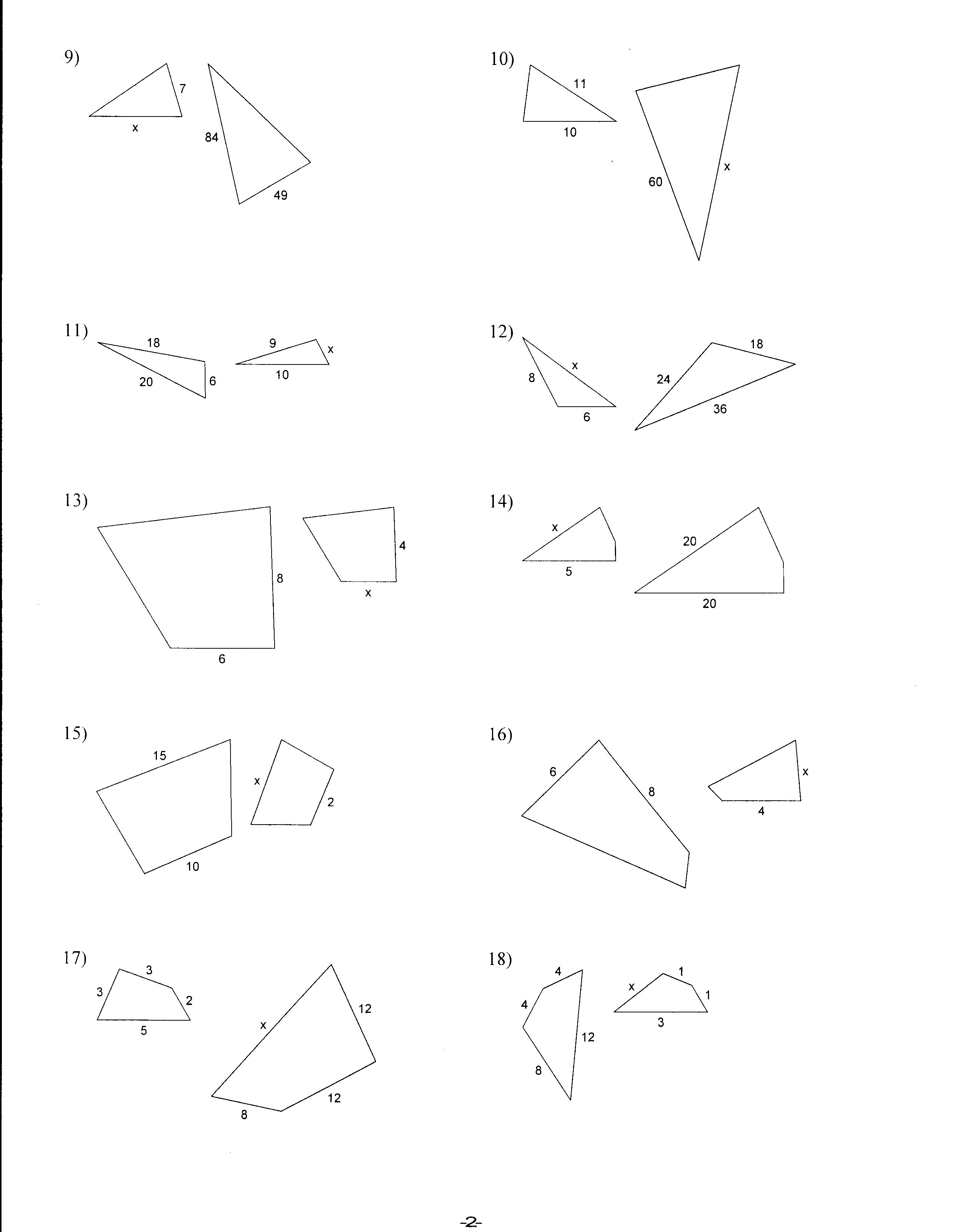 7 Best Images Of Similar Triangles Worksheet