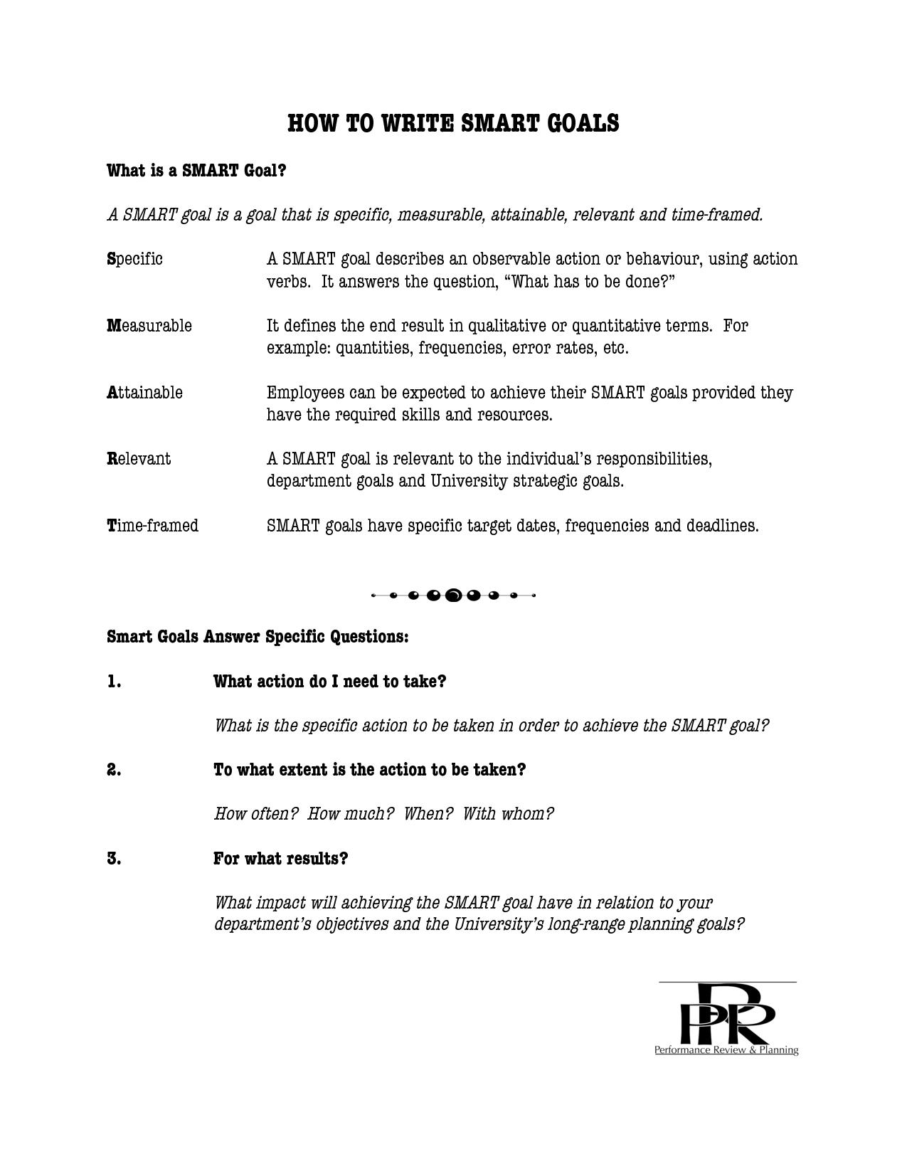 Writing Goals Worksheet