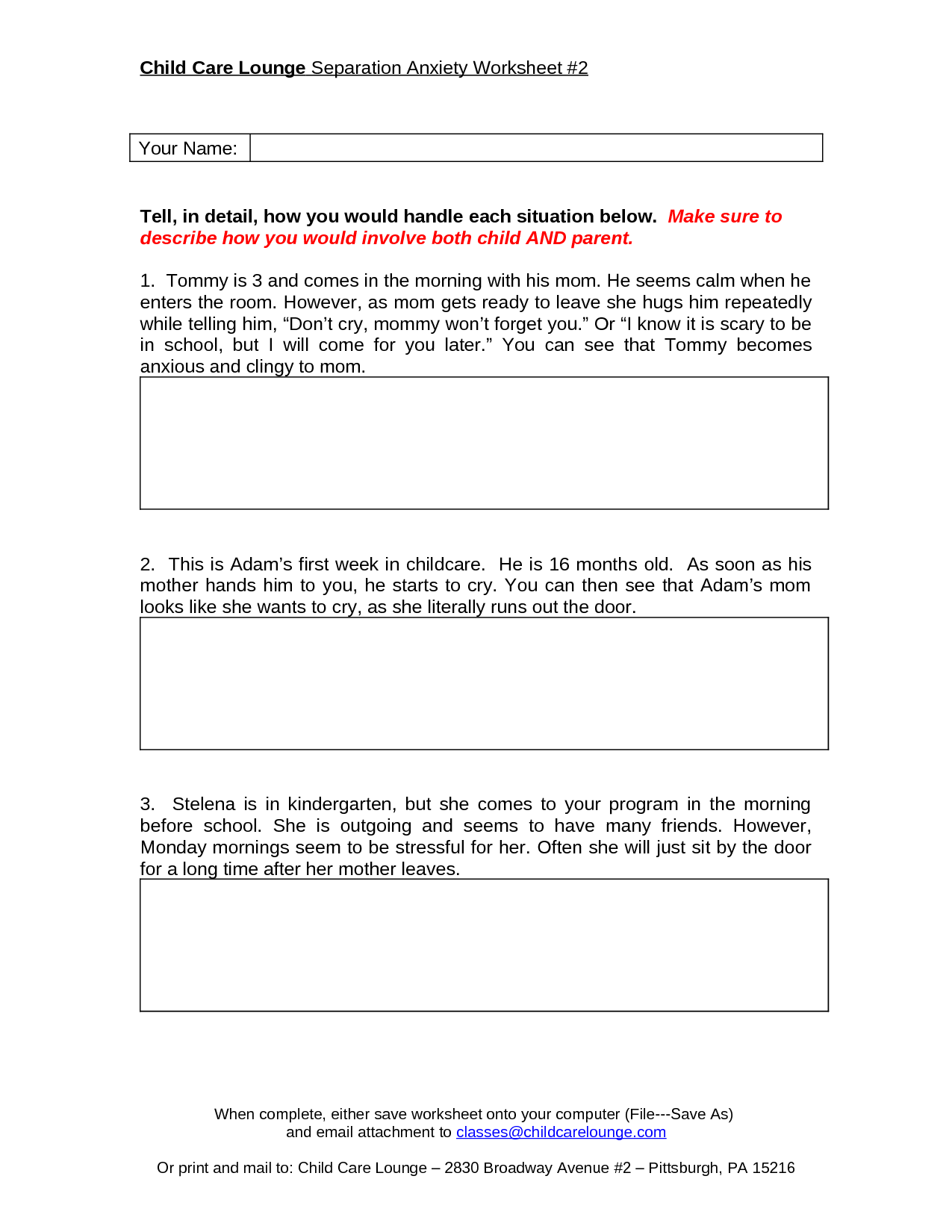 Worksheet On Anxiety