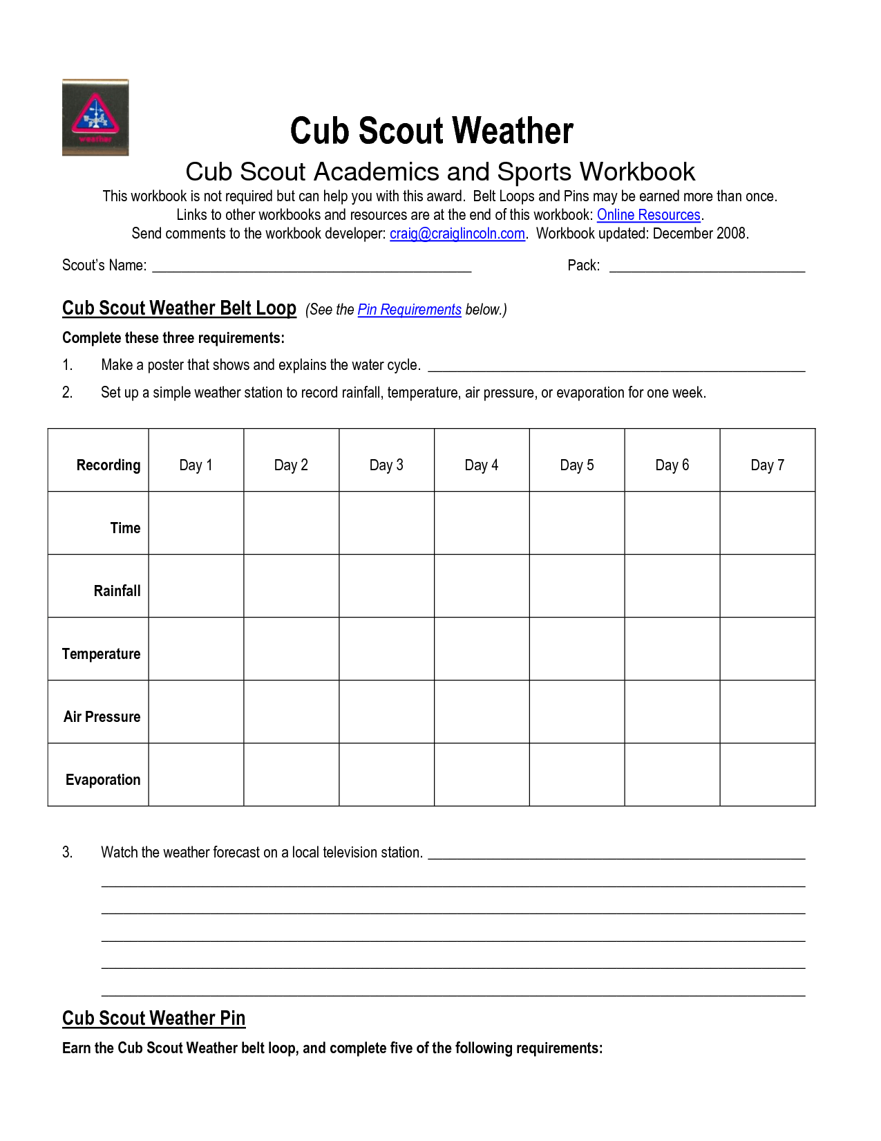 Cub Scout Wolf Worksheet