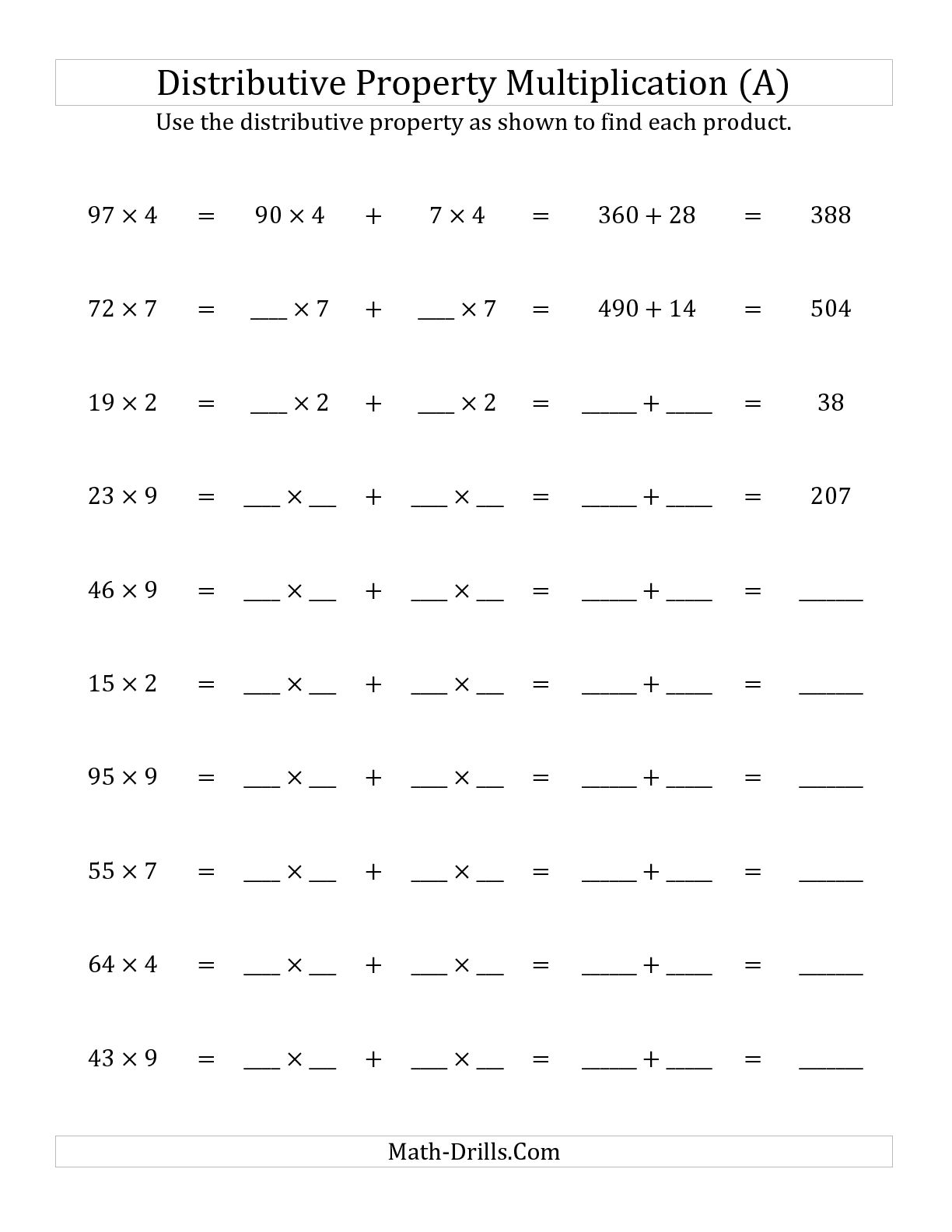 10 Best Images Of Distributive Property Worksheets For