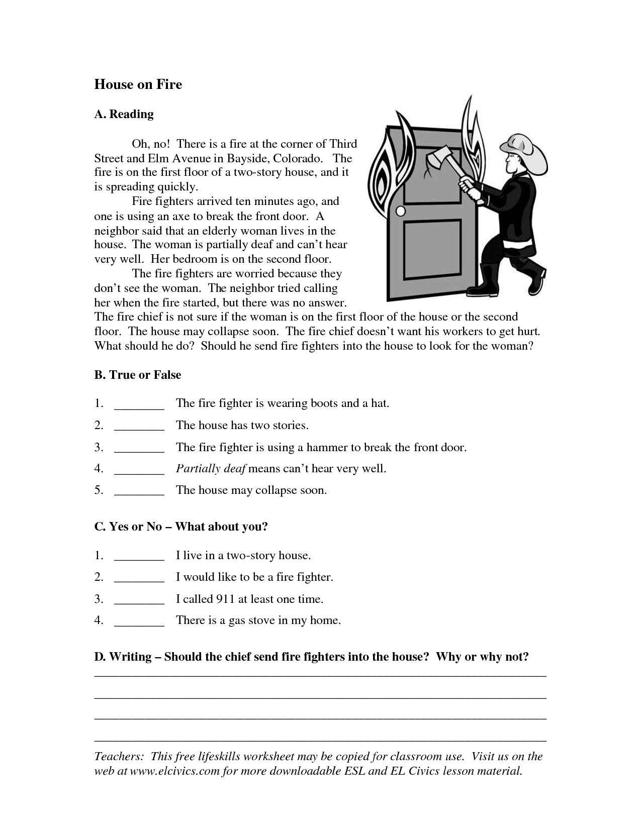 Esl Writing Worksheets For Adults