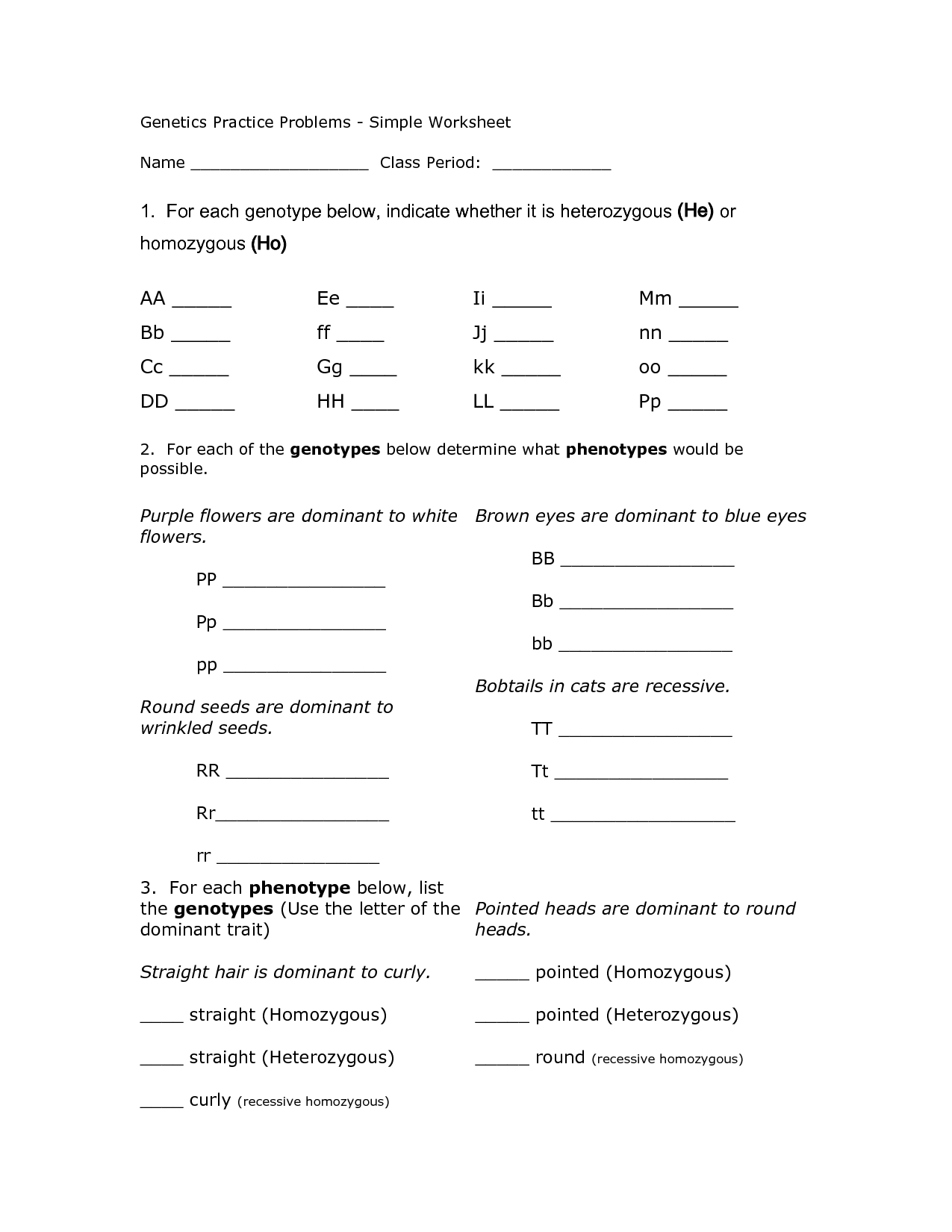 14 Best Images Of Genetics Problems Worksheet And Answers