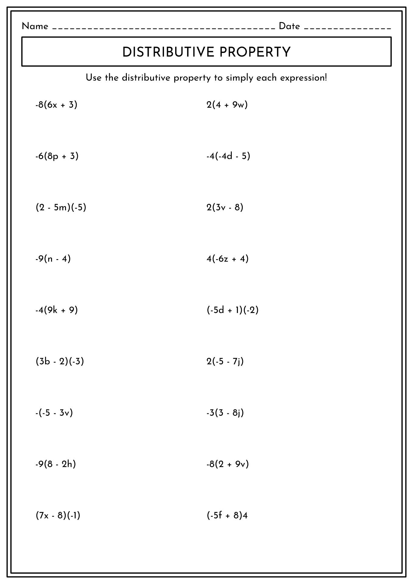 College Algebra Math Worksheets