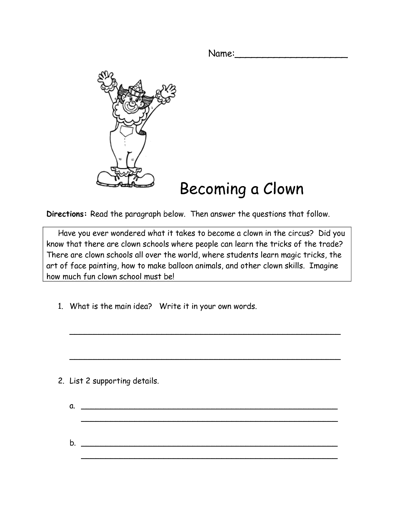 Identifying Main Idea And Supporting Details Worksheet