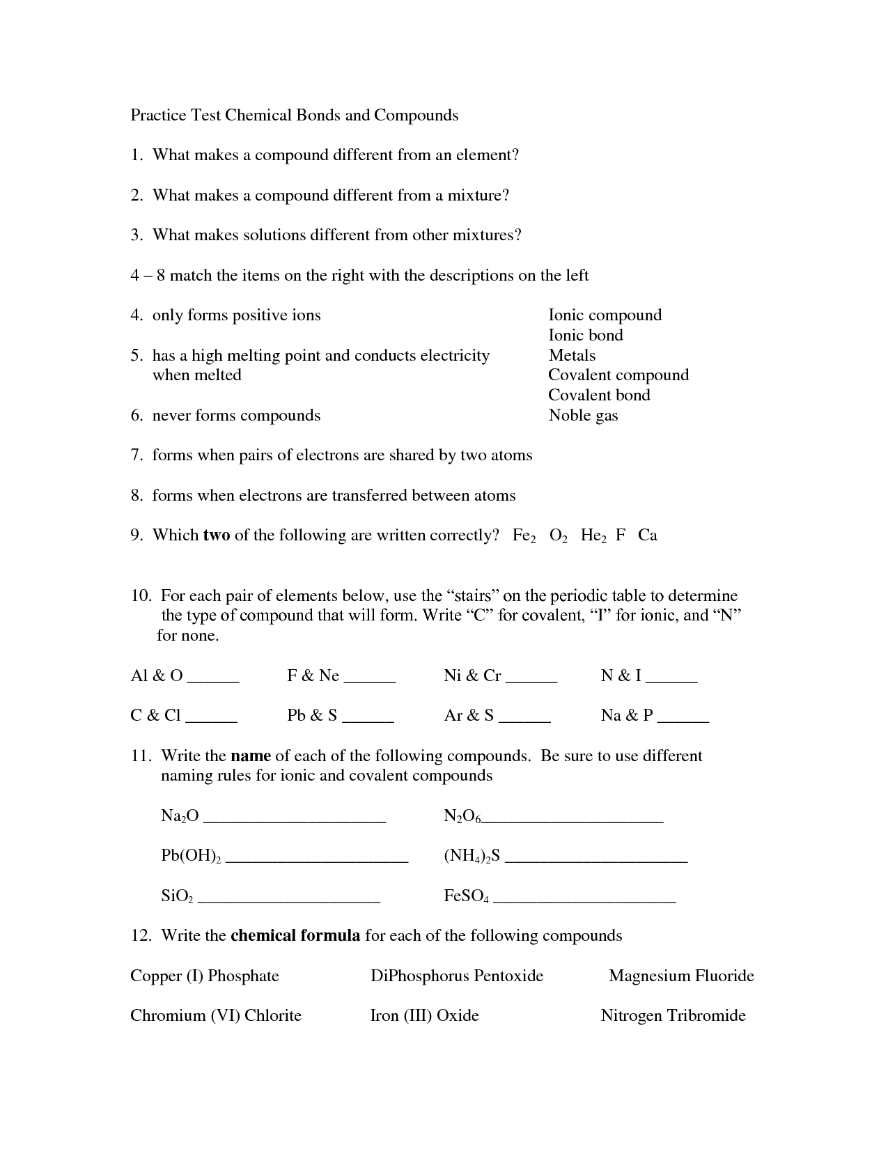 16 Best Images Of Chemistry Naming Compounds Worksheet
