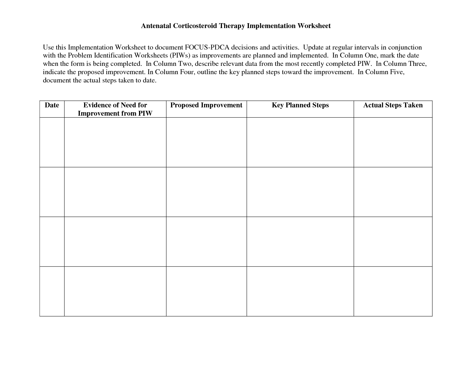 Relaxation Plan Worksheet