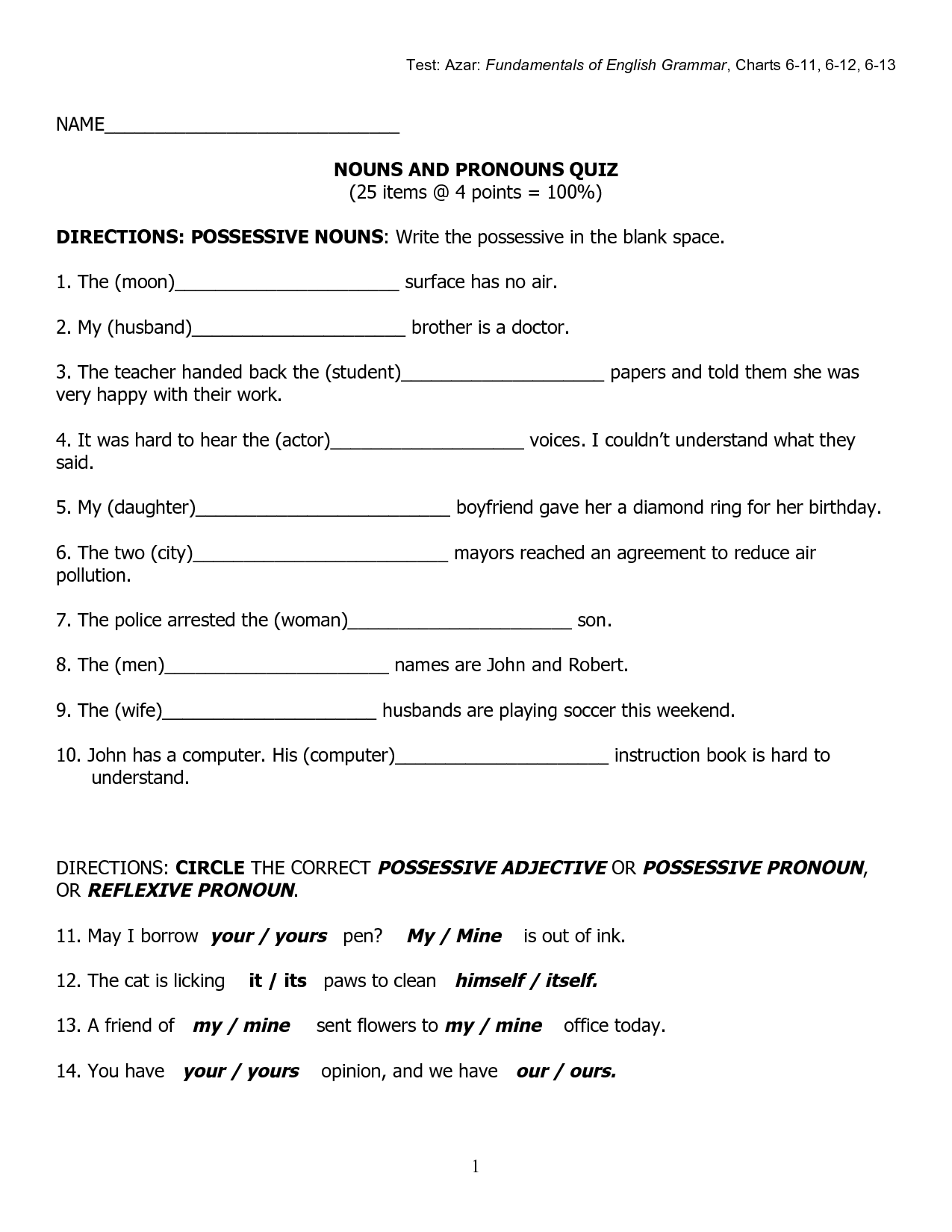 11 Best Images Of Using Possessive Pronouns Worksheets