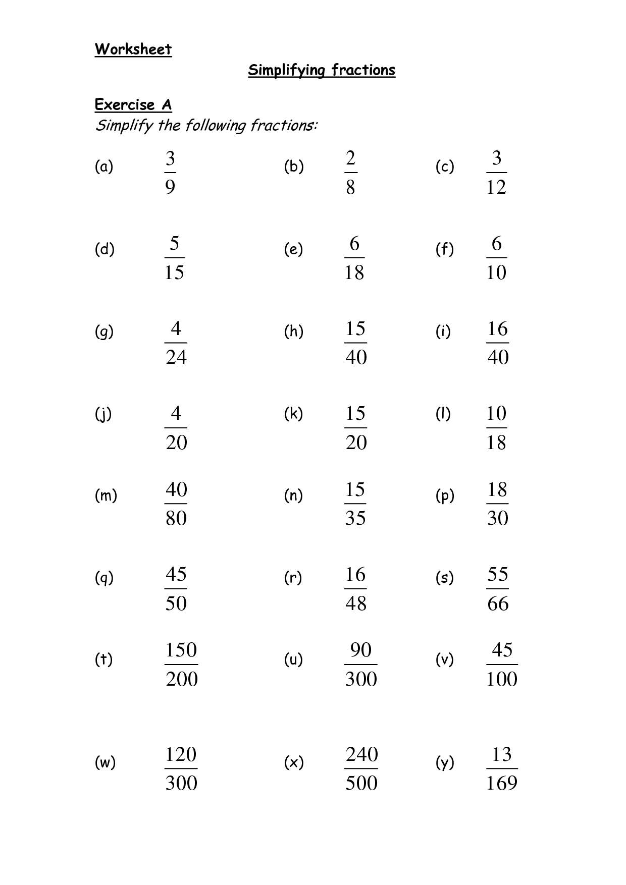 4th Grade Fractions Simplify Worksheet