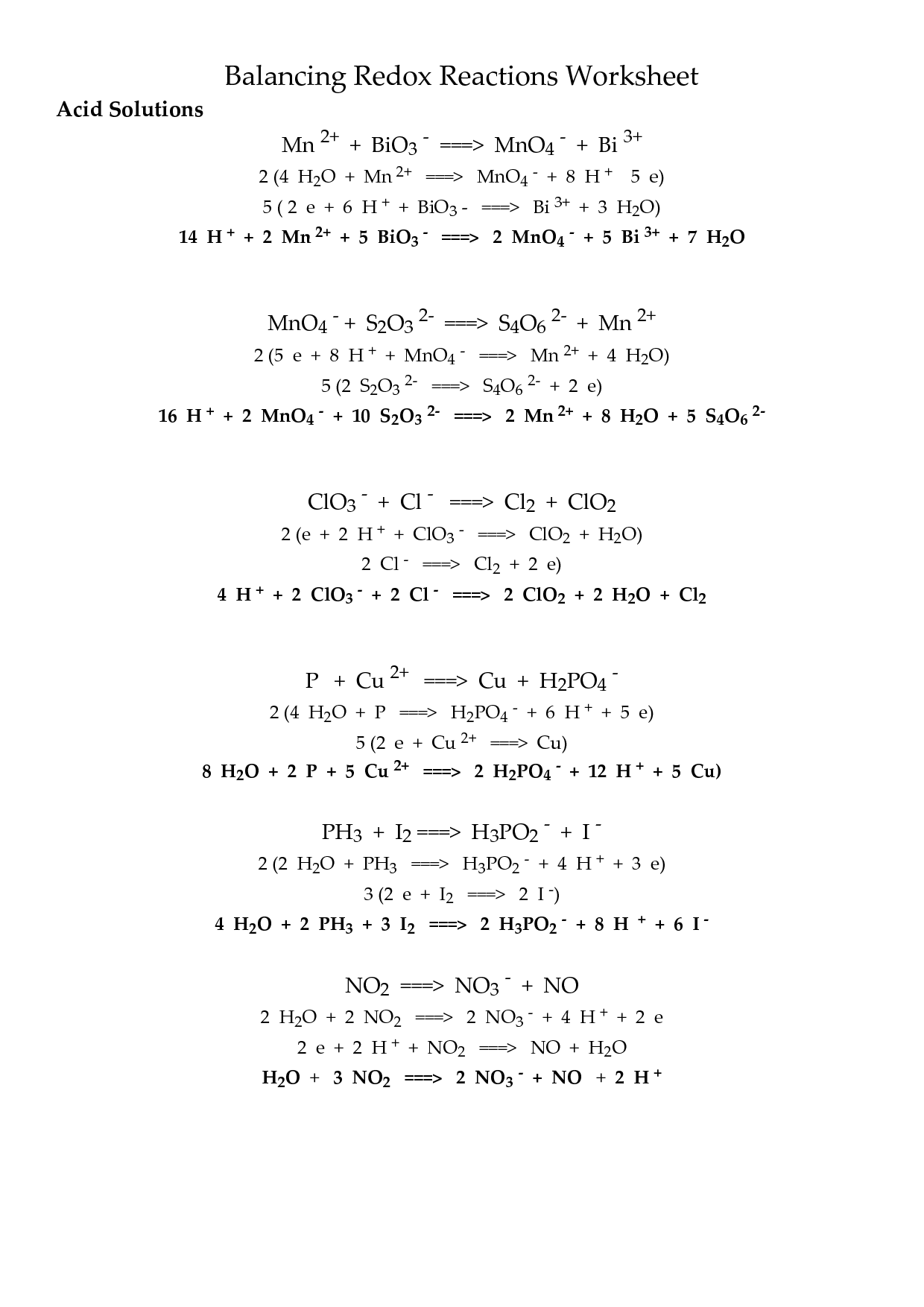 Redox Reactions Worksheet