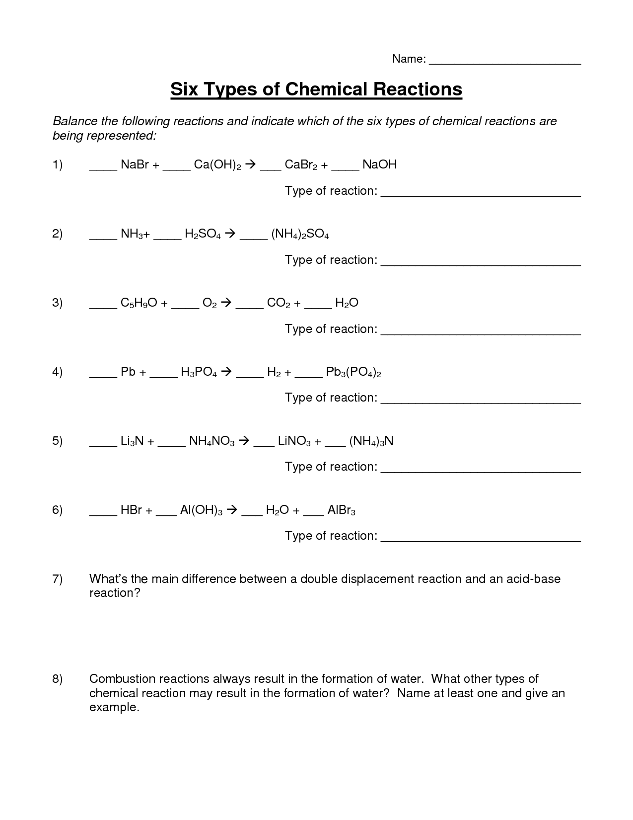 16 Best Images Of Types Chemical Reactions Worksheets