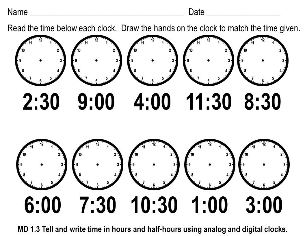 Clock Worksheet Category Page 1