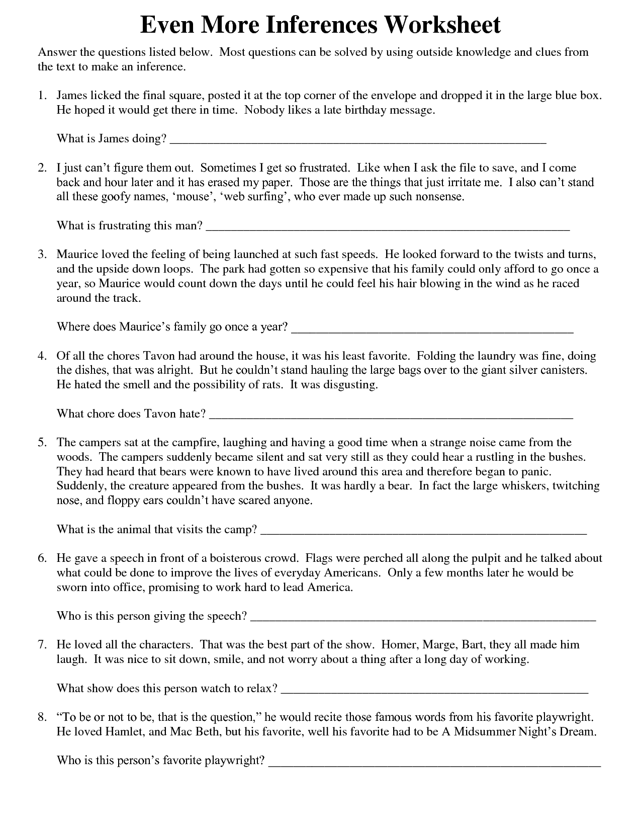 13 Best Images Of Inferences Worksheets With Answers