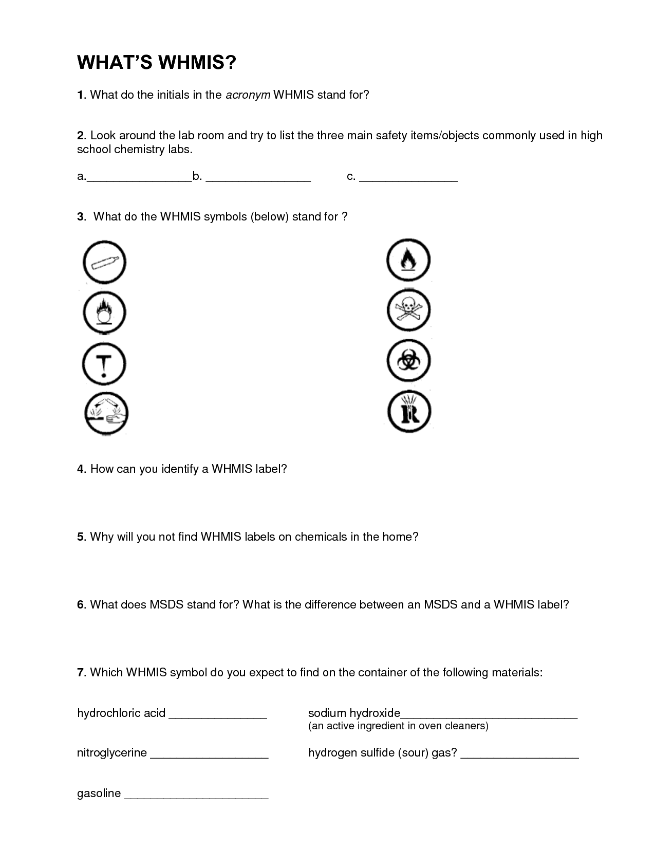 13 Best Images Of Safety Symbols Worksheet Answers