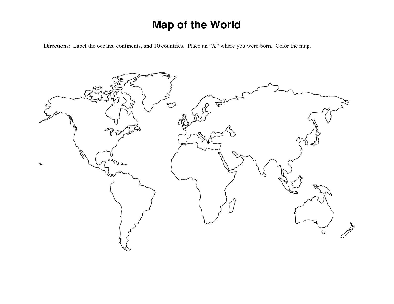 7 Best Images Of World Map Continents And Oceans Worksheet