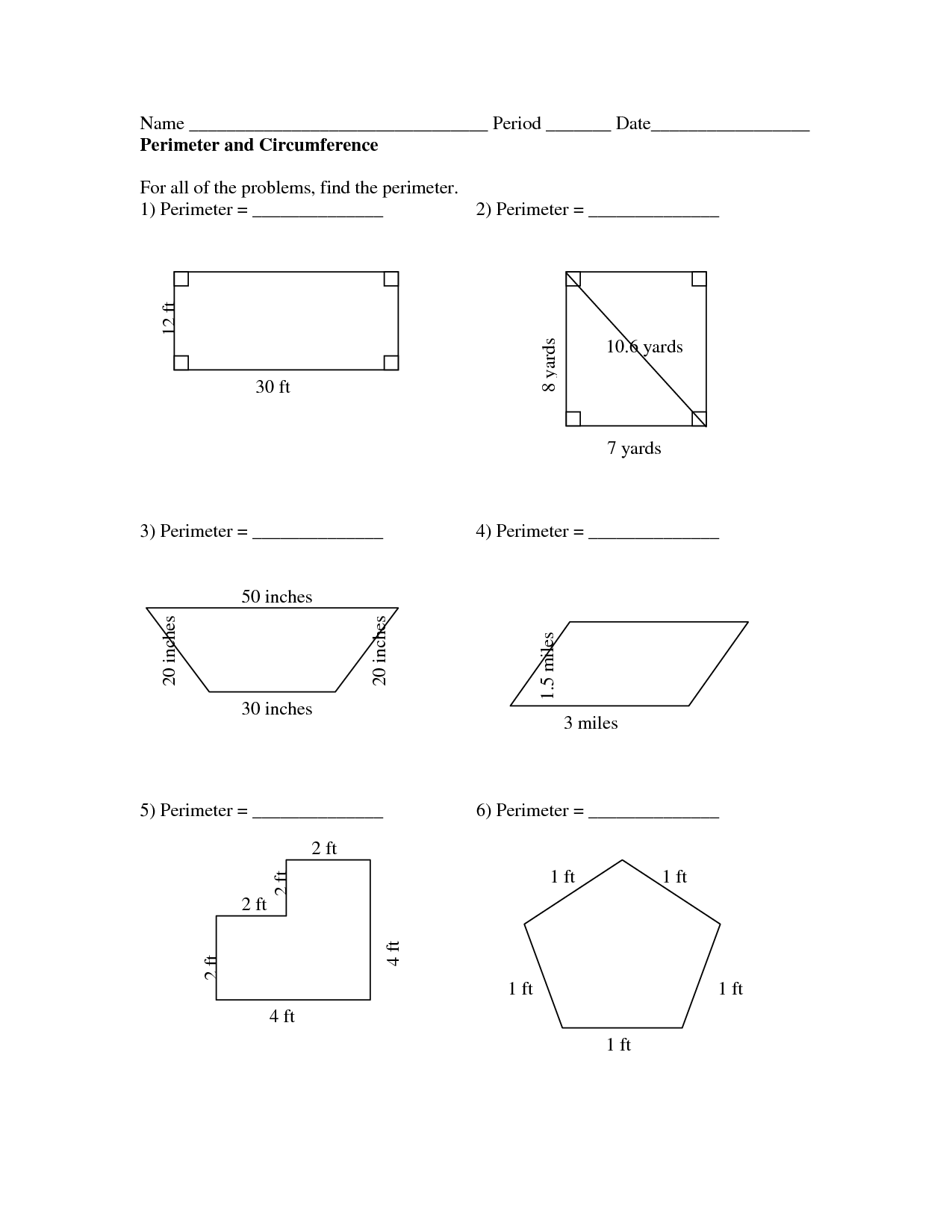 4th Gread Printable Worksheet Area And Perimeter