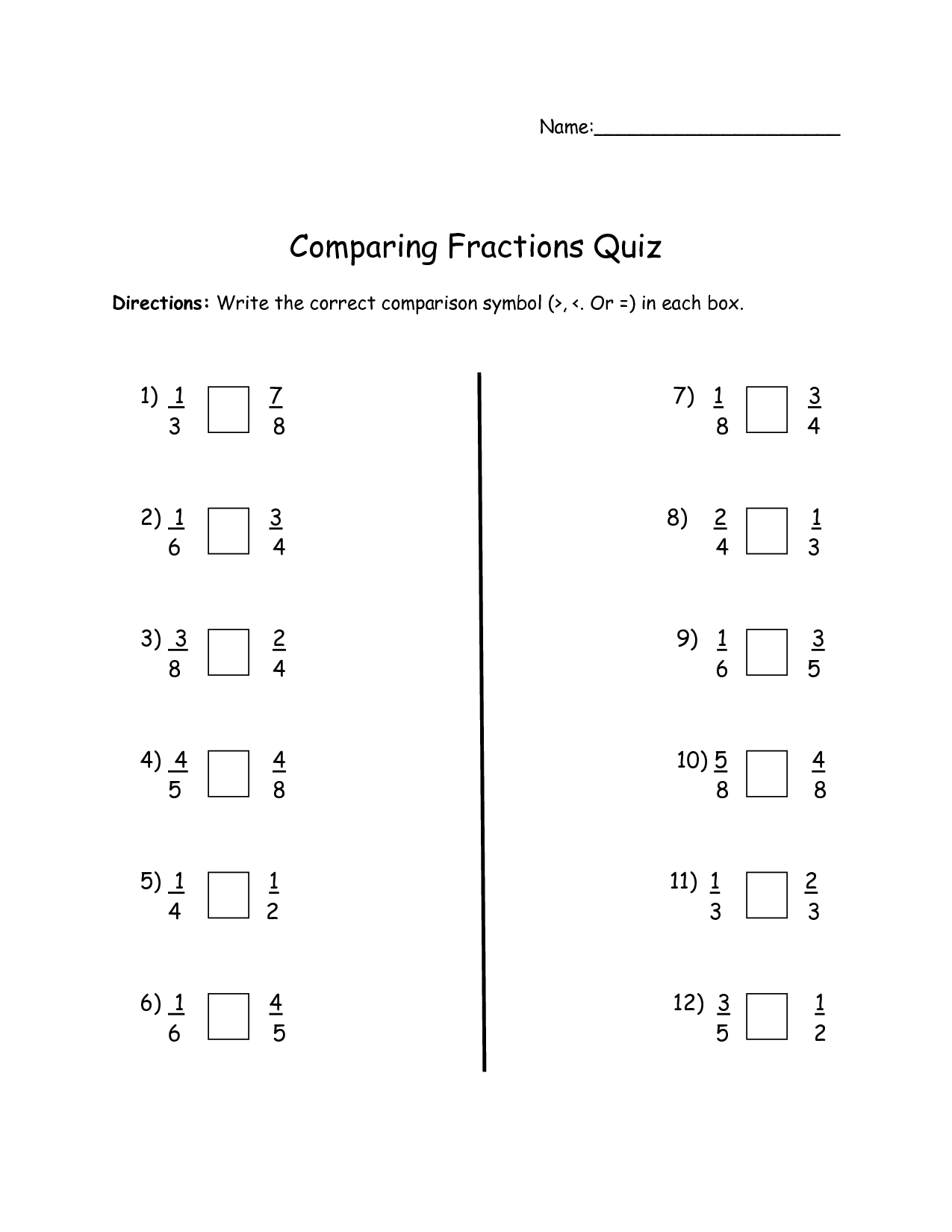 5 Best Images Of Comparing Fractions Worksheets