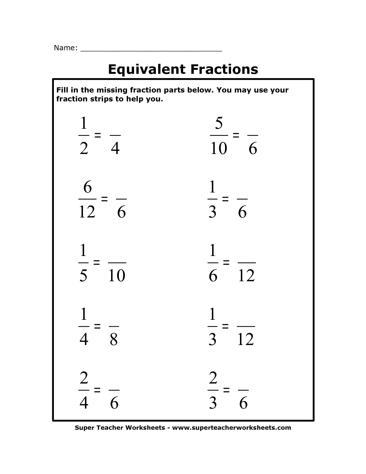14 Best Images Of Worksheets Equivalent Fractions Games